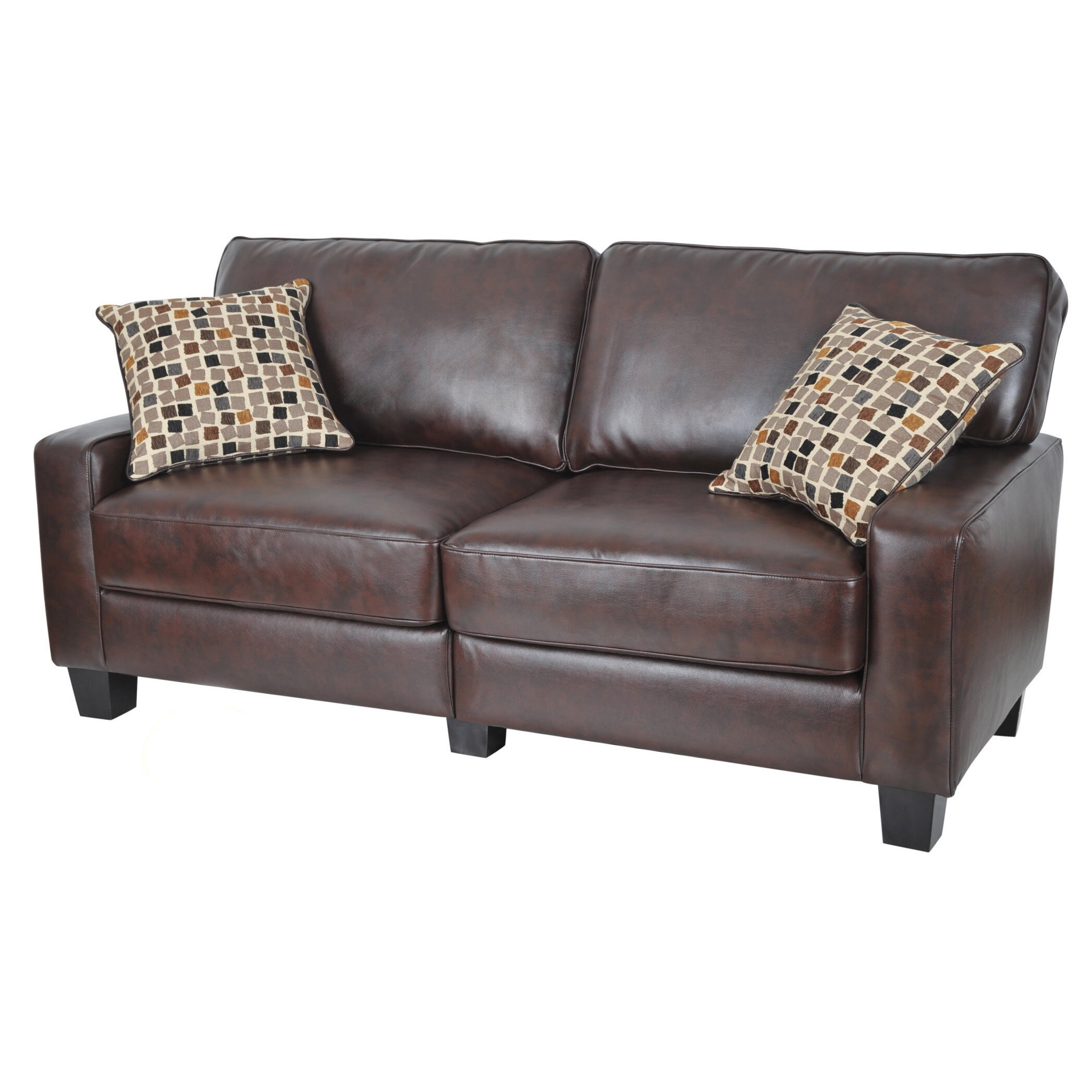 Serta Monaco Collection 77 Inch Brown Leather Sofa Free Shipping  ~ Brown Leather Sofa Chair