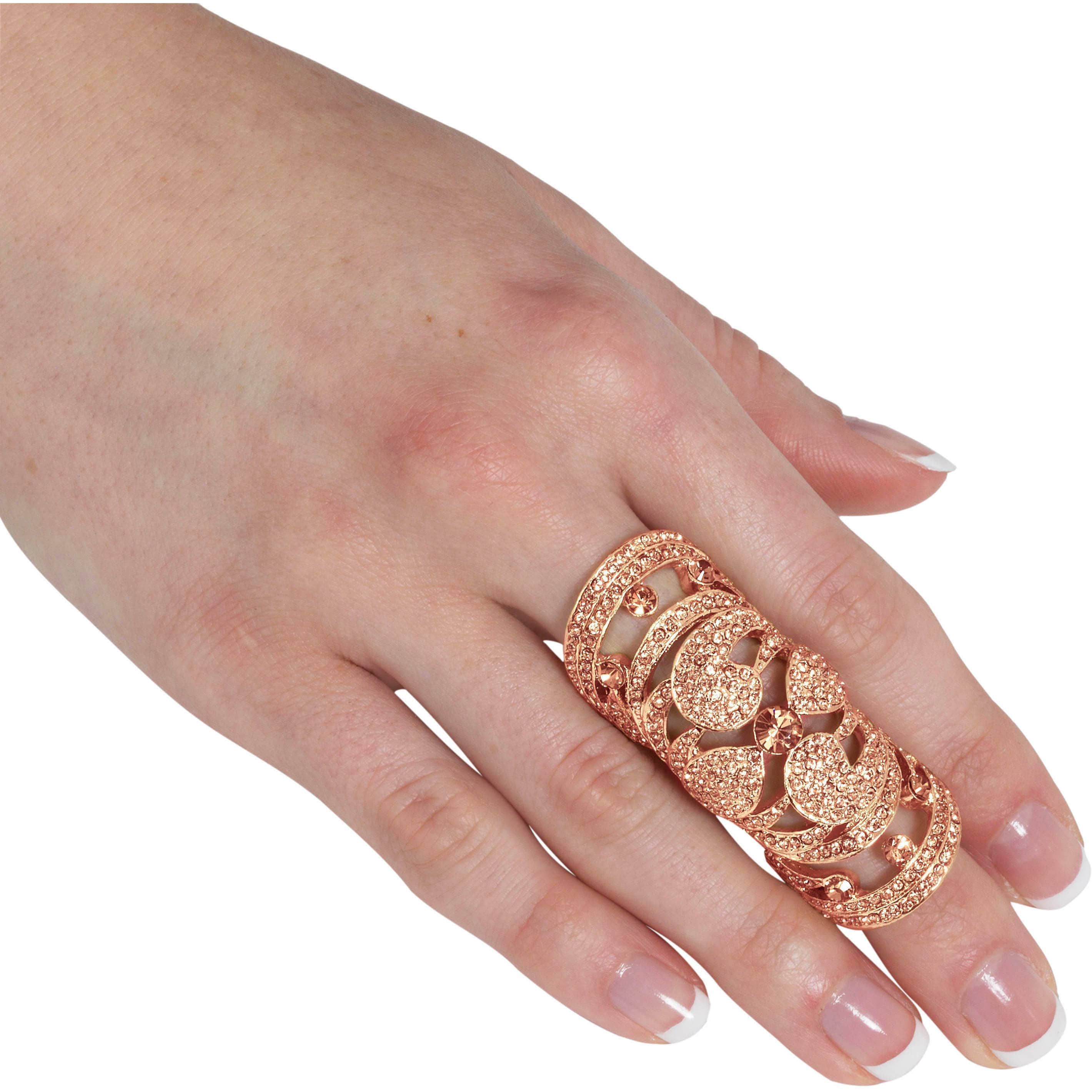 Shop NEXTE Jewelry Goldtone or Black Rhinestone Full Finger Ring ...