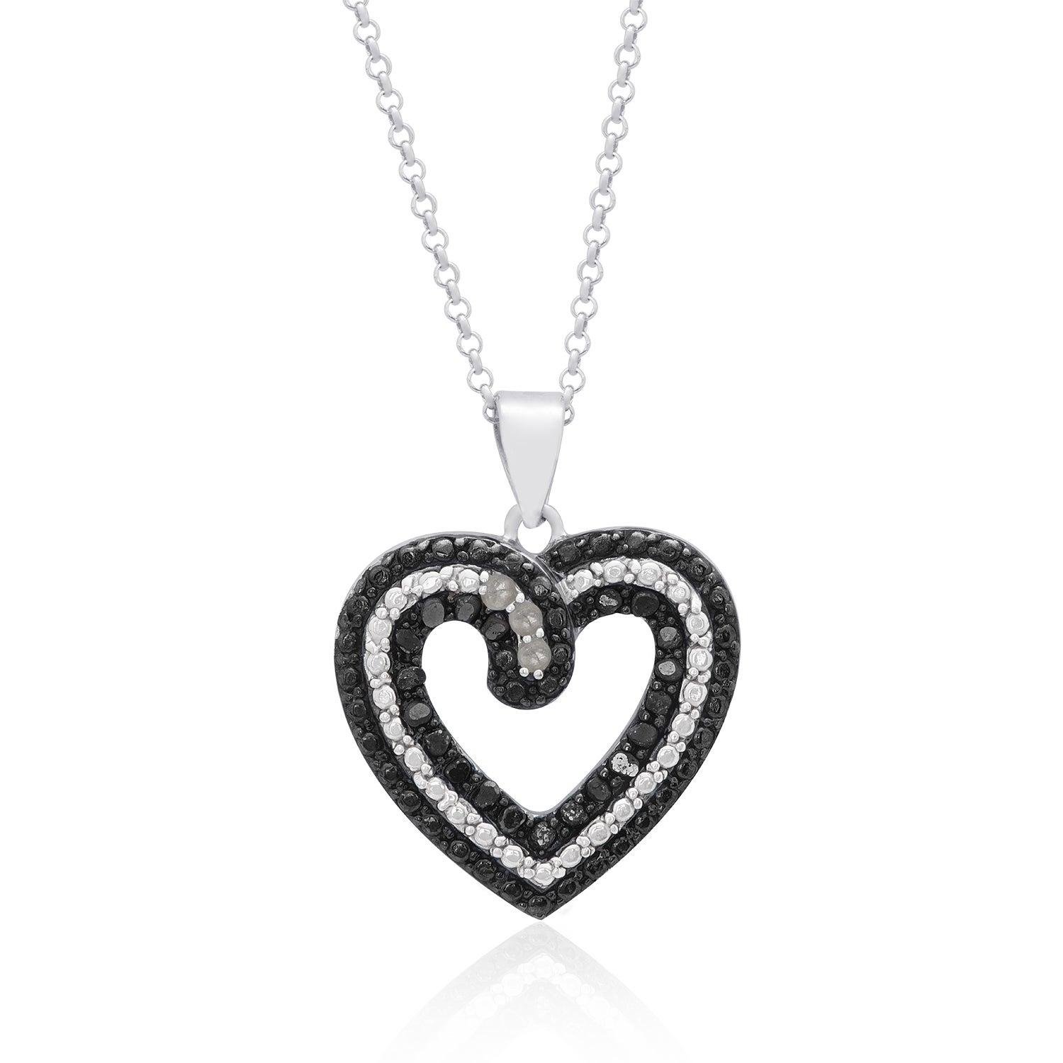 Shop finesque sterling silver 14ct tdw black diamond heart necklace shop finesque sterling silver 14ct tdw black diamond heart necklace on sale free shipping on orders over 45 overstock 9109255 aloadofball Images