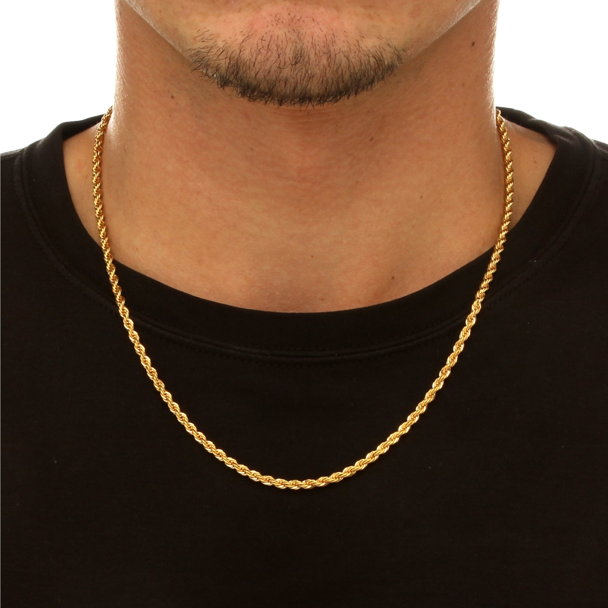 a3b39e352a0 Shop Men's Rope Chain Necklace in 18k Gold Over .925 Sterling Silver - On  Sale - Free Shipping Today - Overstock - 9109510