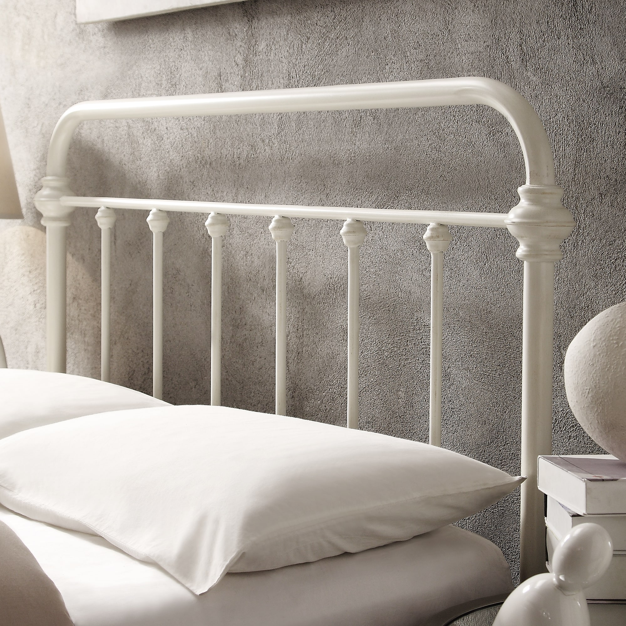 Giselle Antique White Graceful Lines Victorian Iron Metal Bed by iNSPIRE Q  Classic - Free Shipping Today - Overstock.com - 16301475