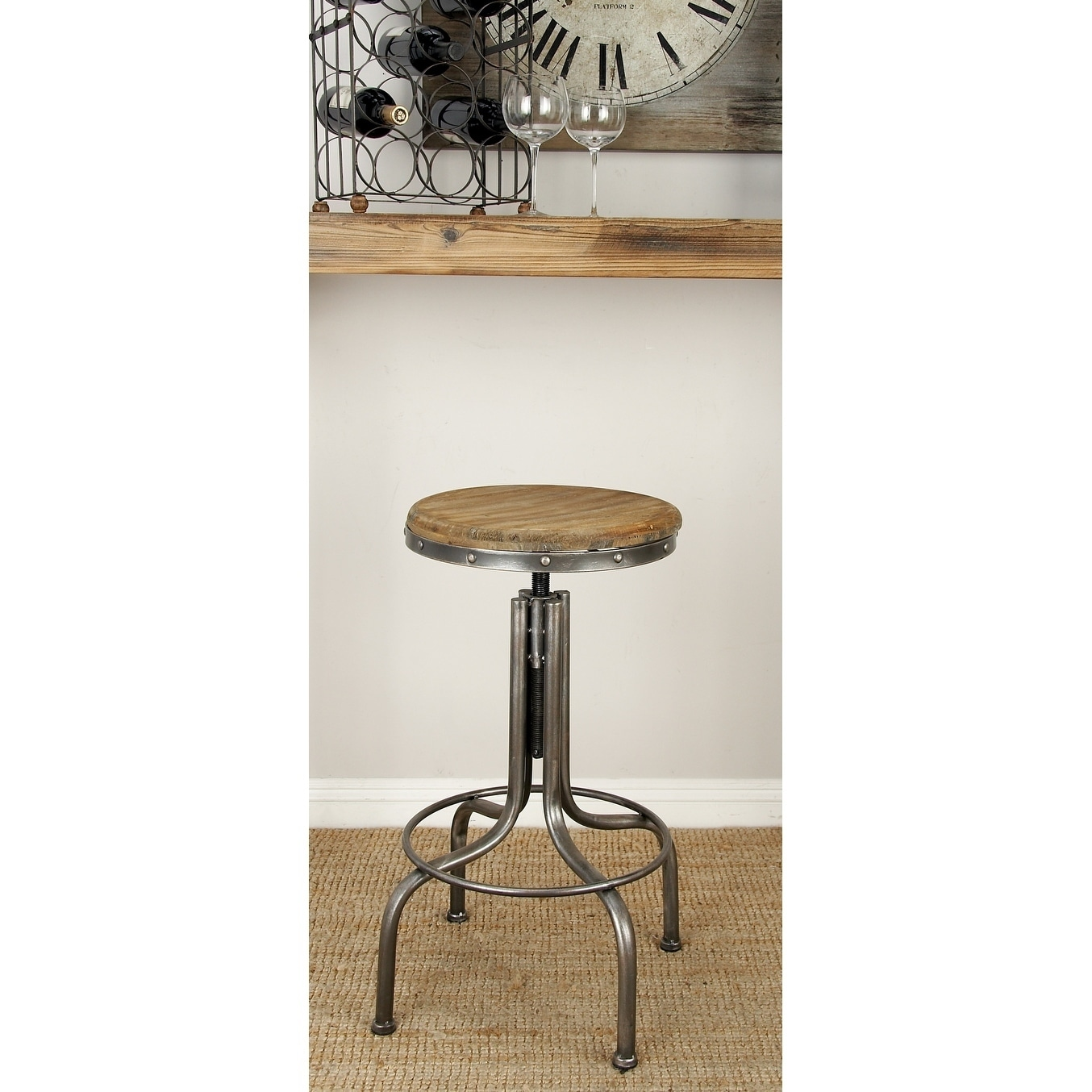 28 Inch Wood And Iron Bar Stool By Studio 350 Free Shipping Today 9118549