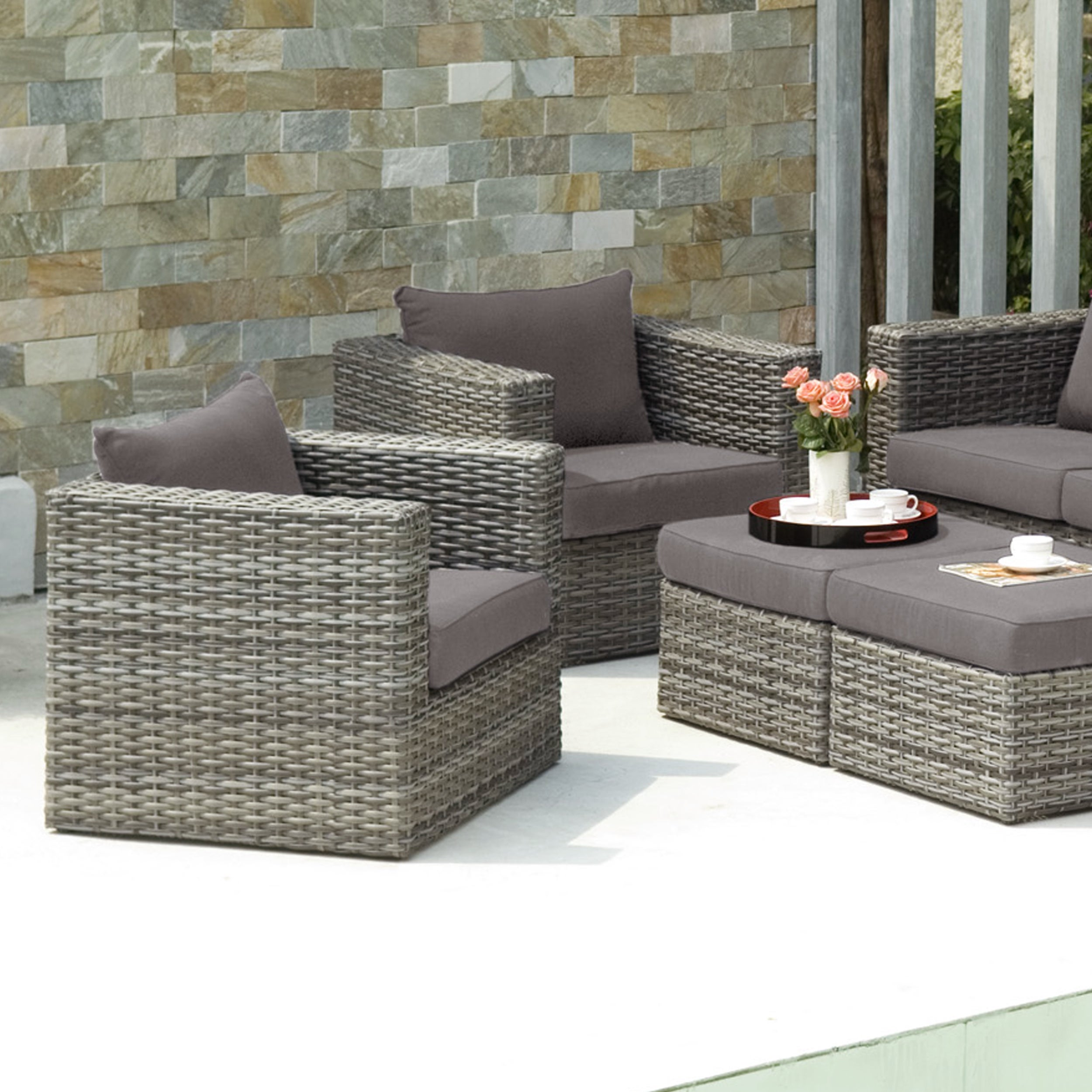 Harper Blvd Brixton Outdoor Wicker Chair And Ottoman 4pc Set   Free  Shipping Today   Overstock   16305598