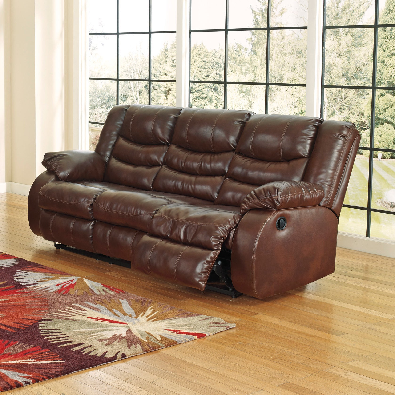 Signature Design By Ashley Linebacker Durablend Espresso Reclining Sofa Free Shipping Today 9124059