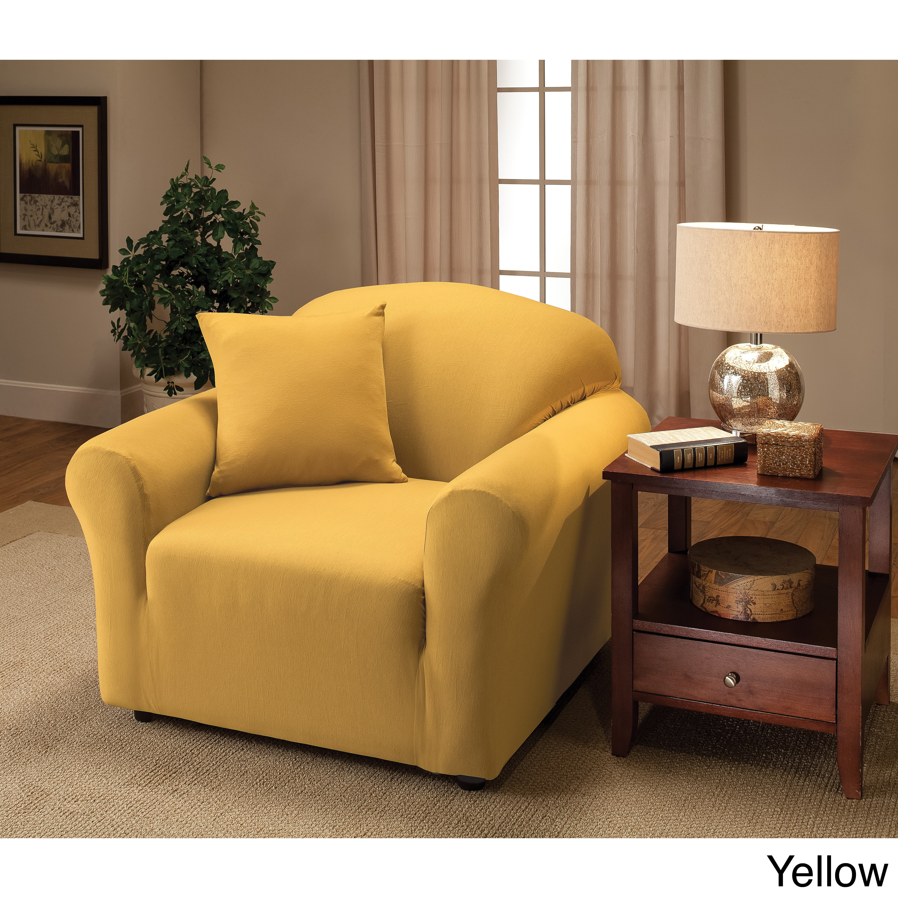 Shop Stretch Jersey Chair Slipcover   Free Shipping On Orders Over $45    Overstock.com   9128282