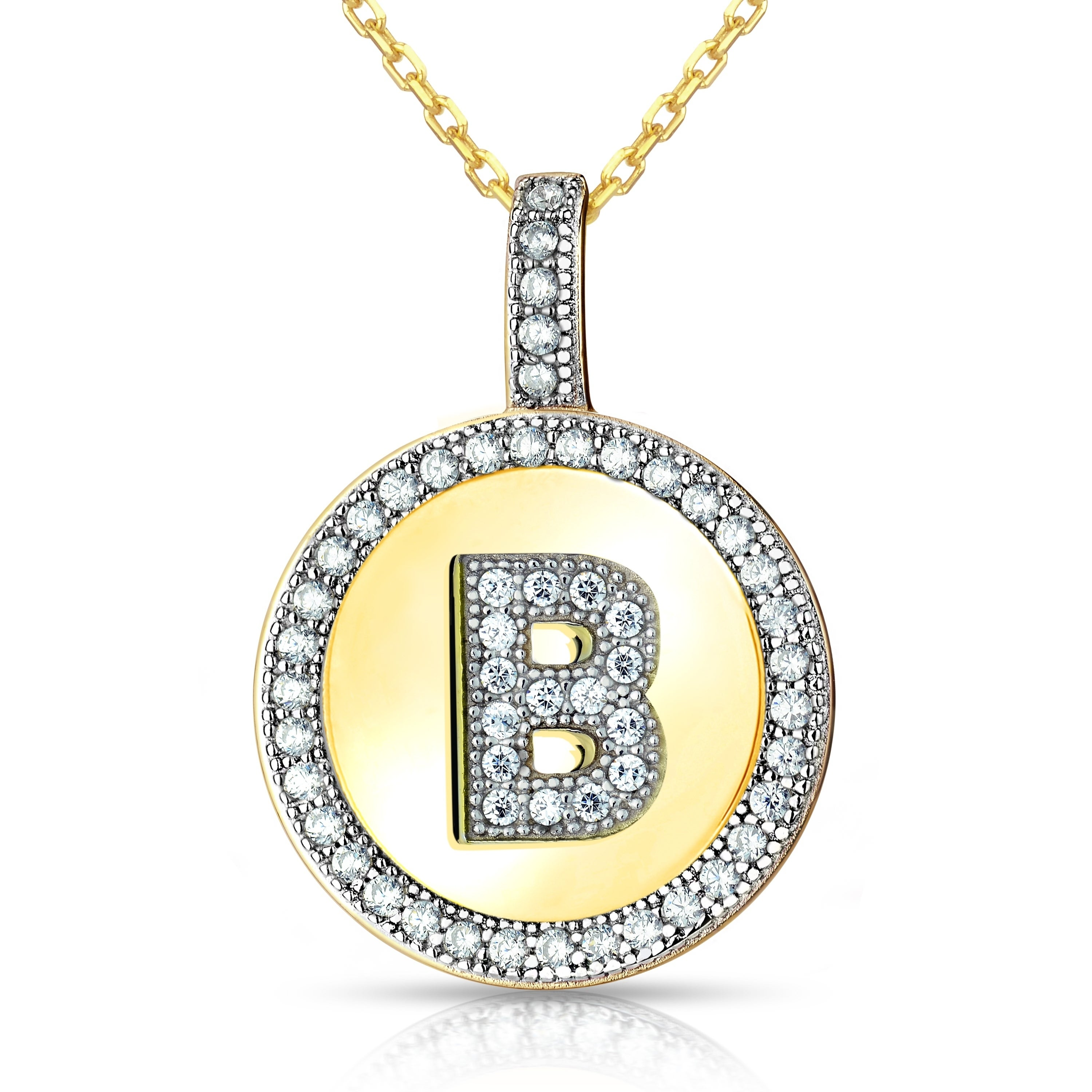 85875eec27c944 Shop La Preciosa Sterling Silver or Gold Plated Micro Pave Cubic Zirconia  Initial Circle Pendant Necklace - On Sale - Free Shipping On Orders Over  $45 ...