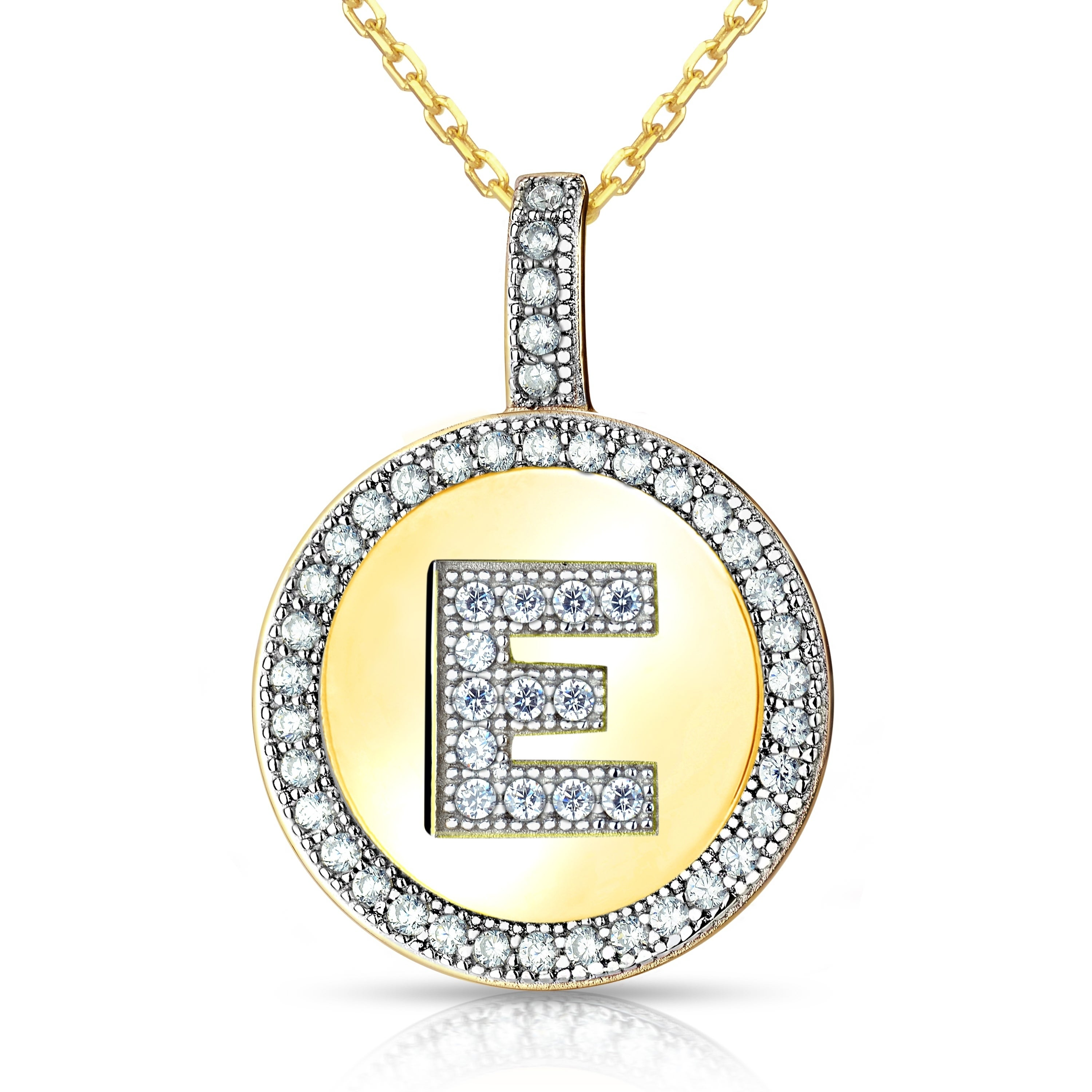 Shop la preciosa sterling silver or gold plated micro pave cubic shop la preciosa sterling silver or gold plated micro pave cubic zirconia initial circle pendant necklace on sale free shipping on orders over 45 mozeypictures Gallery