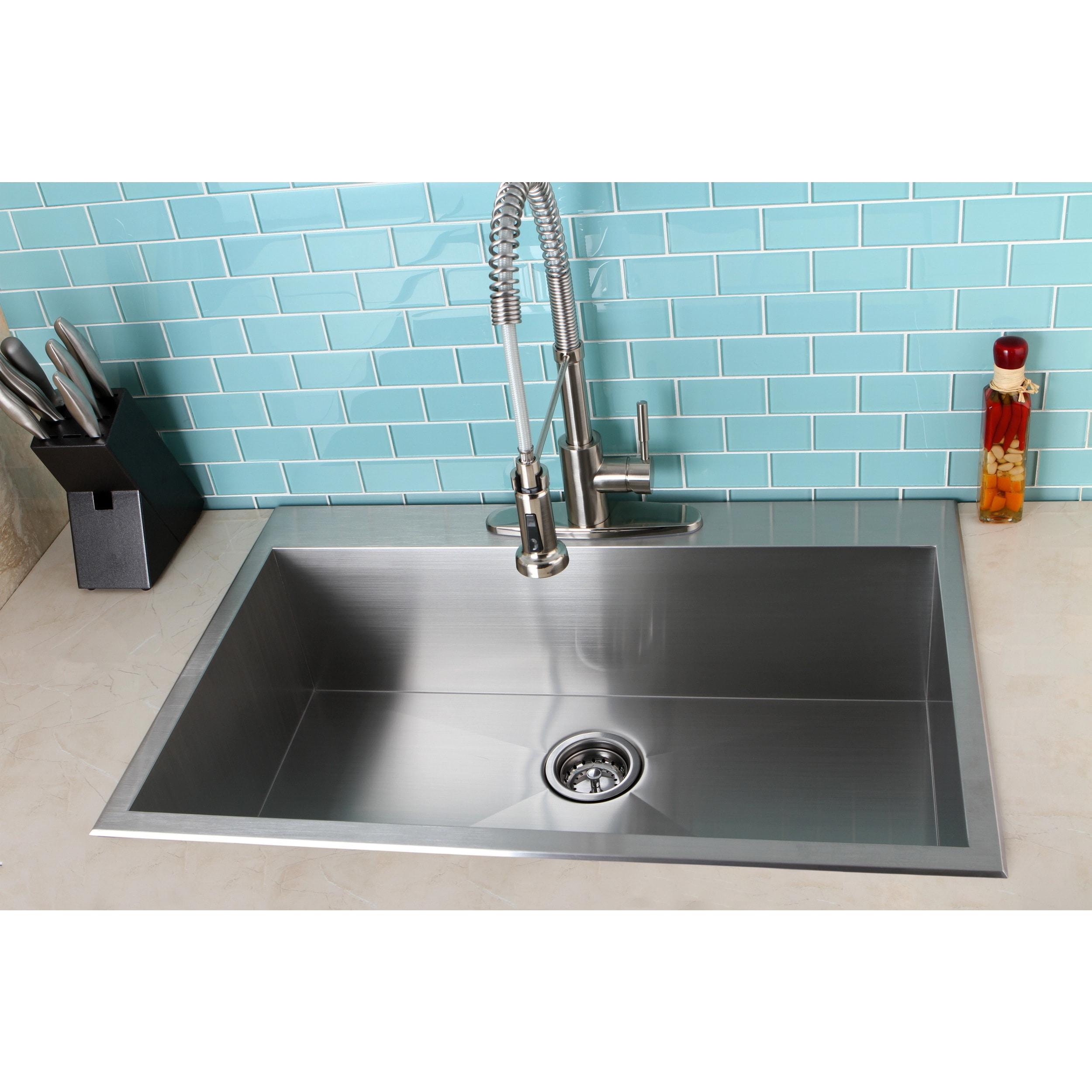 Topmount 33-inch Single Bowl Stainless Steel Kitchen Sink - Free ...
