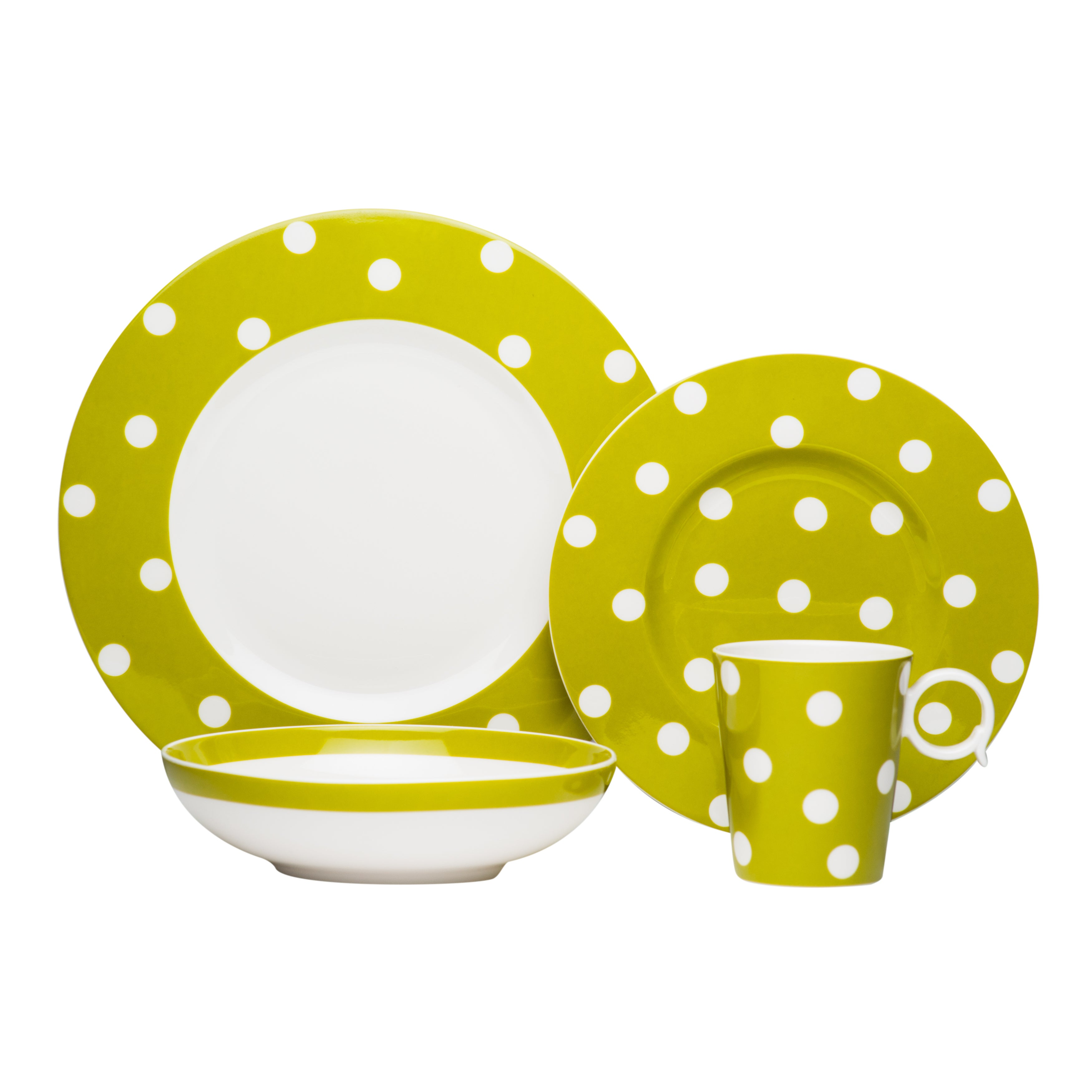 Red Vanilla Freshness Mix u0026 Match Dots Olive 4-piece Place Setting - Free Shipping Today - Overstock - 16317497  sc 1 st  Overstock & Red Vanilla Freshness Mix u0026 Match Dots Olive 4-piece Place Setting ...