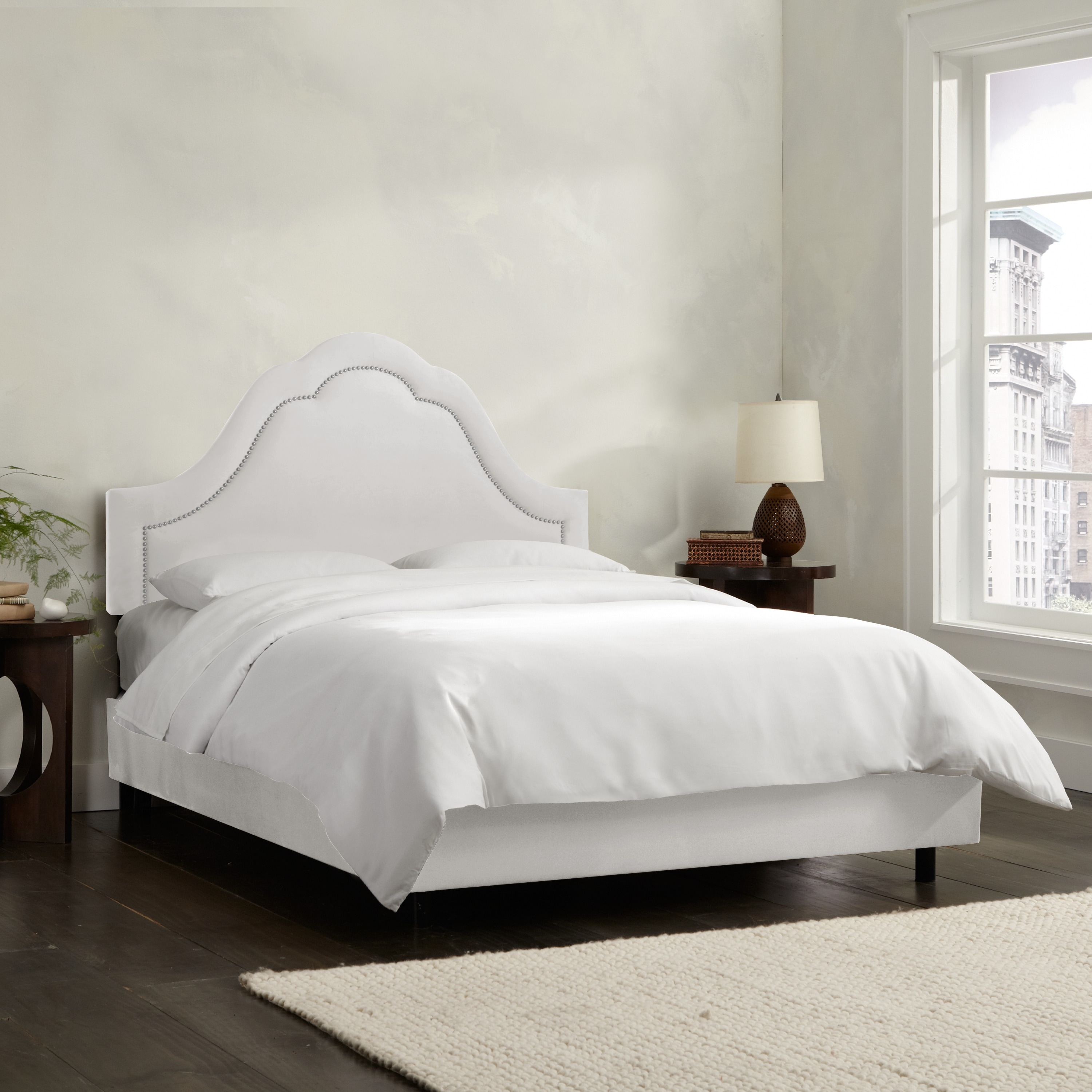 Shop skyline furniture arch inset nail button bed in micro suede white free shipping today overstock com 9140586