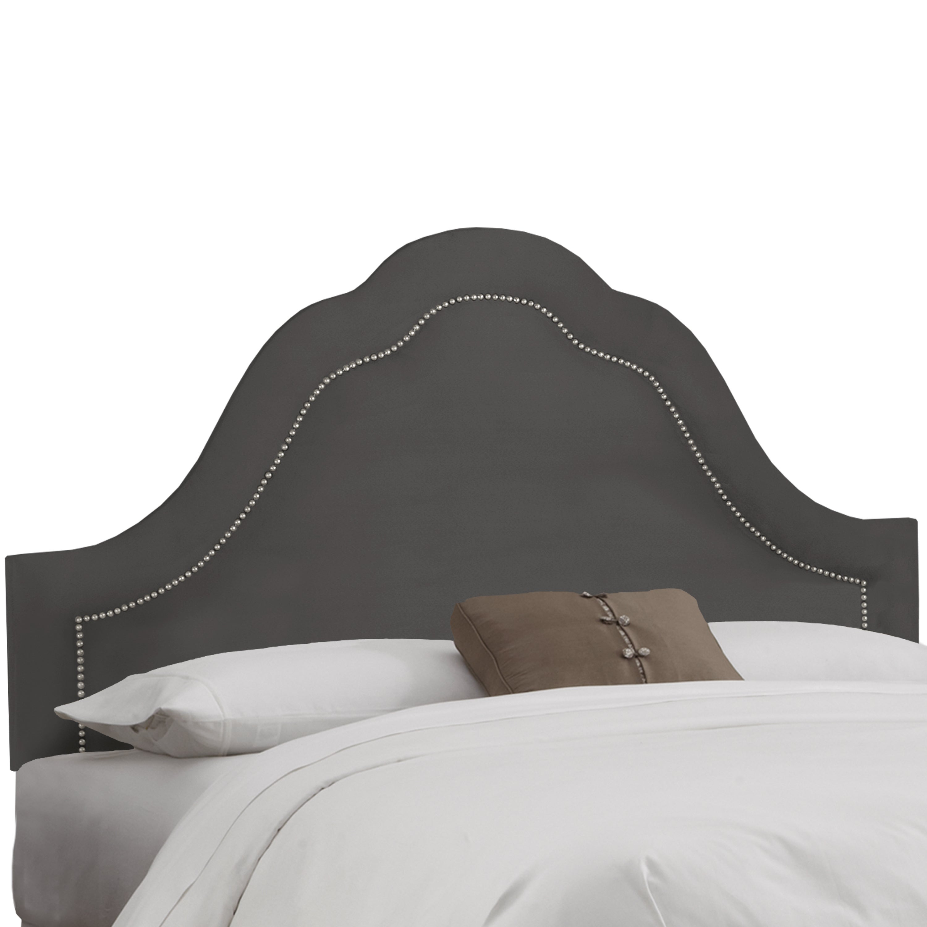 Shop skyline furniture inset nail button headboard in micro suede charcoal free shipping today overstock com 9140590