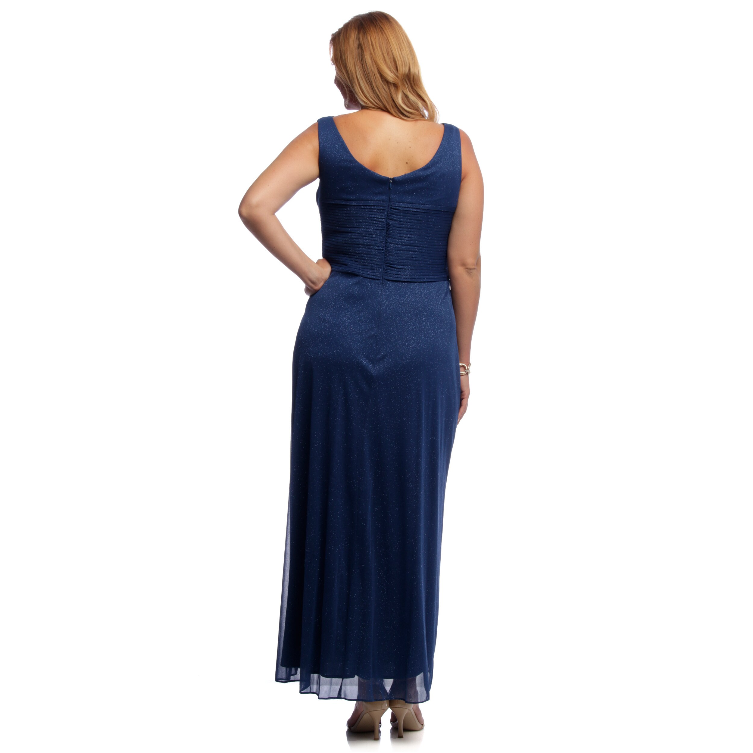36b0a003 Shop Alex Evenings Women's Plus Size Electric Blue Glitter Mesh Evening Gown  - Free Shipping Today - Overstock - 9141923