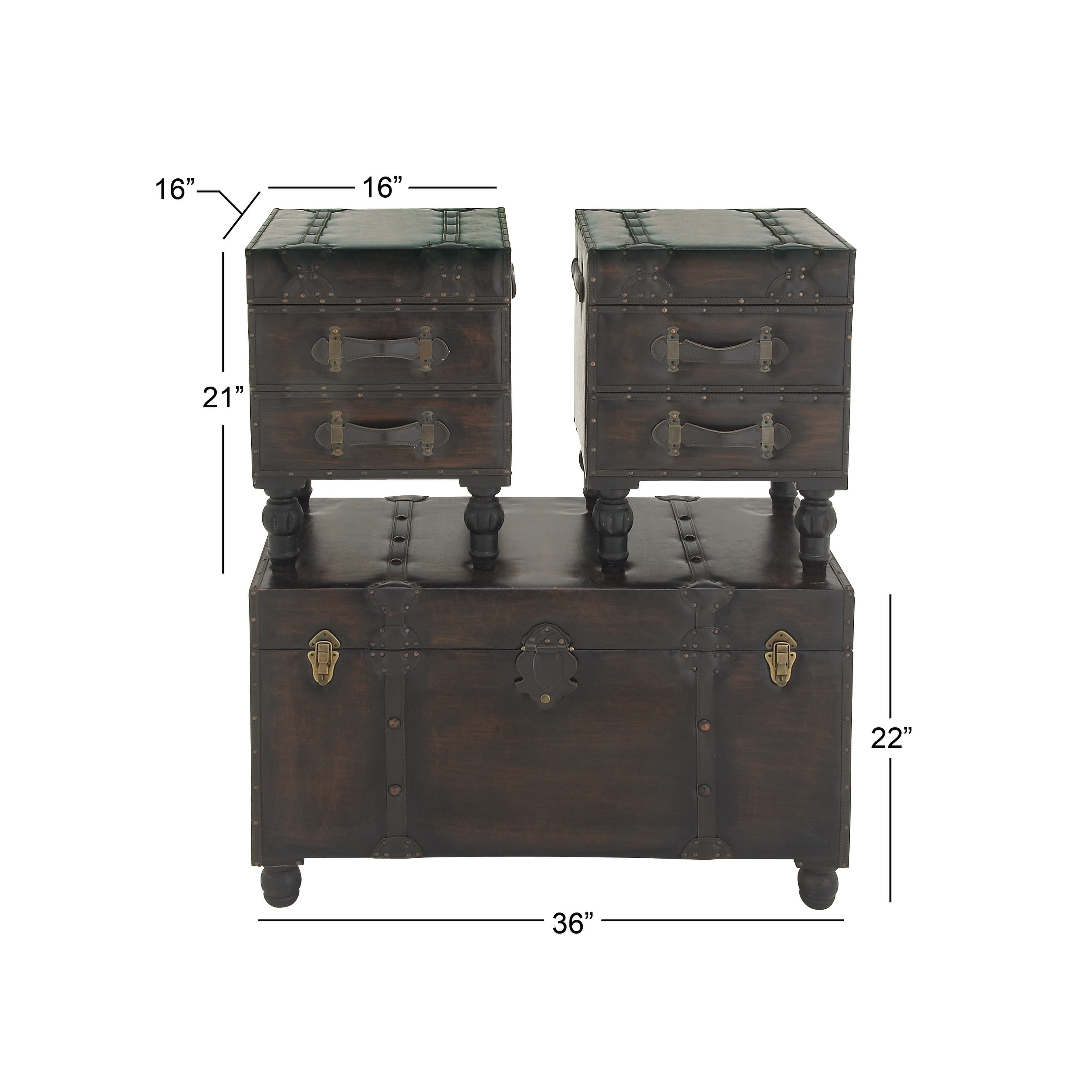 Shop Set Of 3 Traditional 16 16 And 36 Inch Storage Bench By