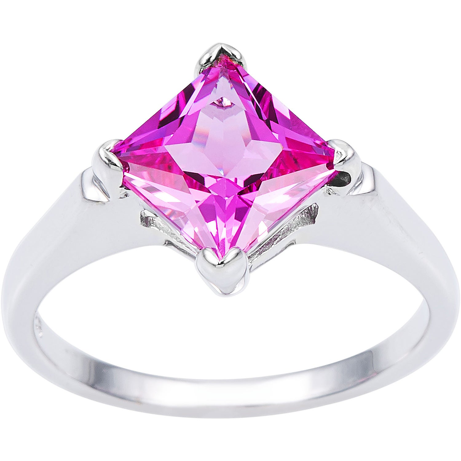 Shop Oravo Sterling Silver Princess-cut Gemstone Solitaire Rhodium ...