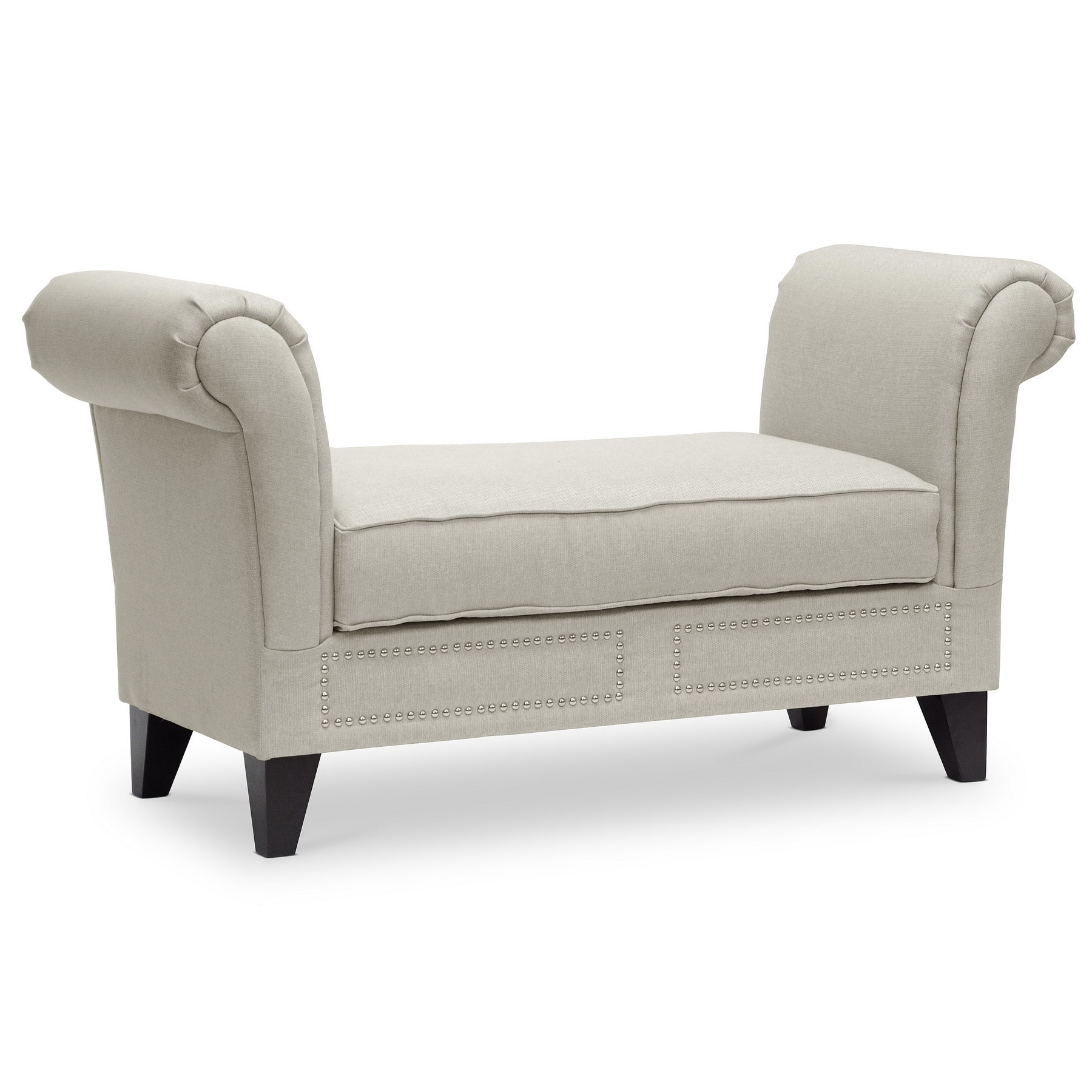 Shop Oliver U0026 James Diana Light Beige Scroll Arm Bench   Free Shipping  Today   Overstock.com   20543472