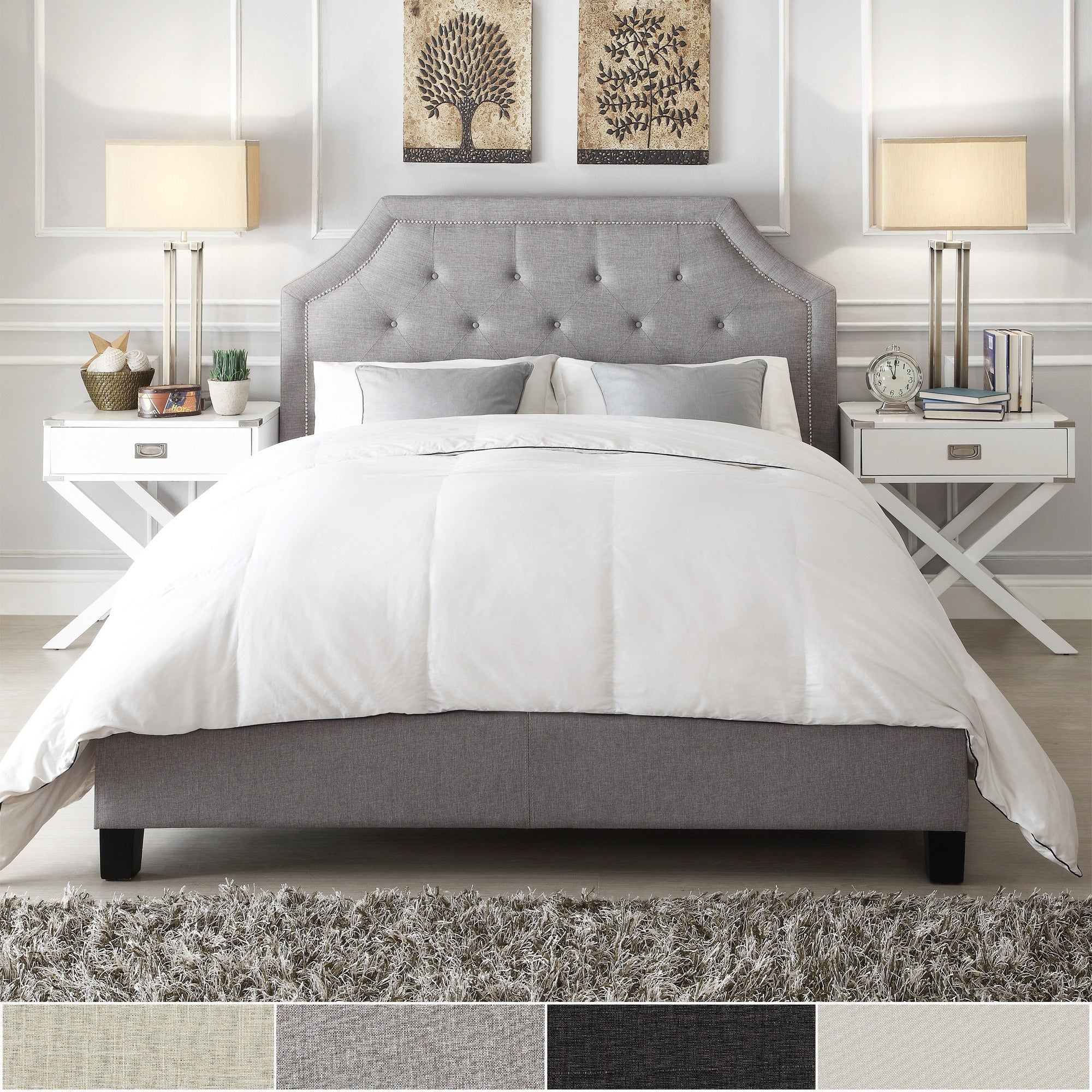 Grace Queen-size Button Tufted Arched Bridge Upholstered Bed by iNSPIRE Q  Bold - Free Shipping Today - Overstock.com - 16328391