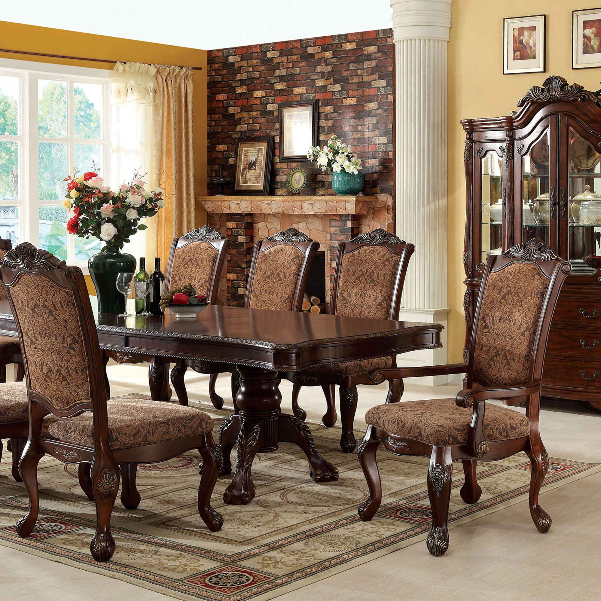 83d4857999 Shop Eiko Traditional 15-inch Leaf Antique Cherry 9-piece Dining Set by FOA  - Free Shipping Today - Overstock - 9148592