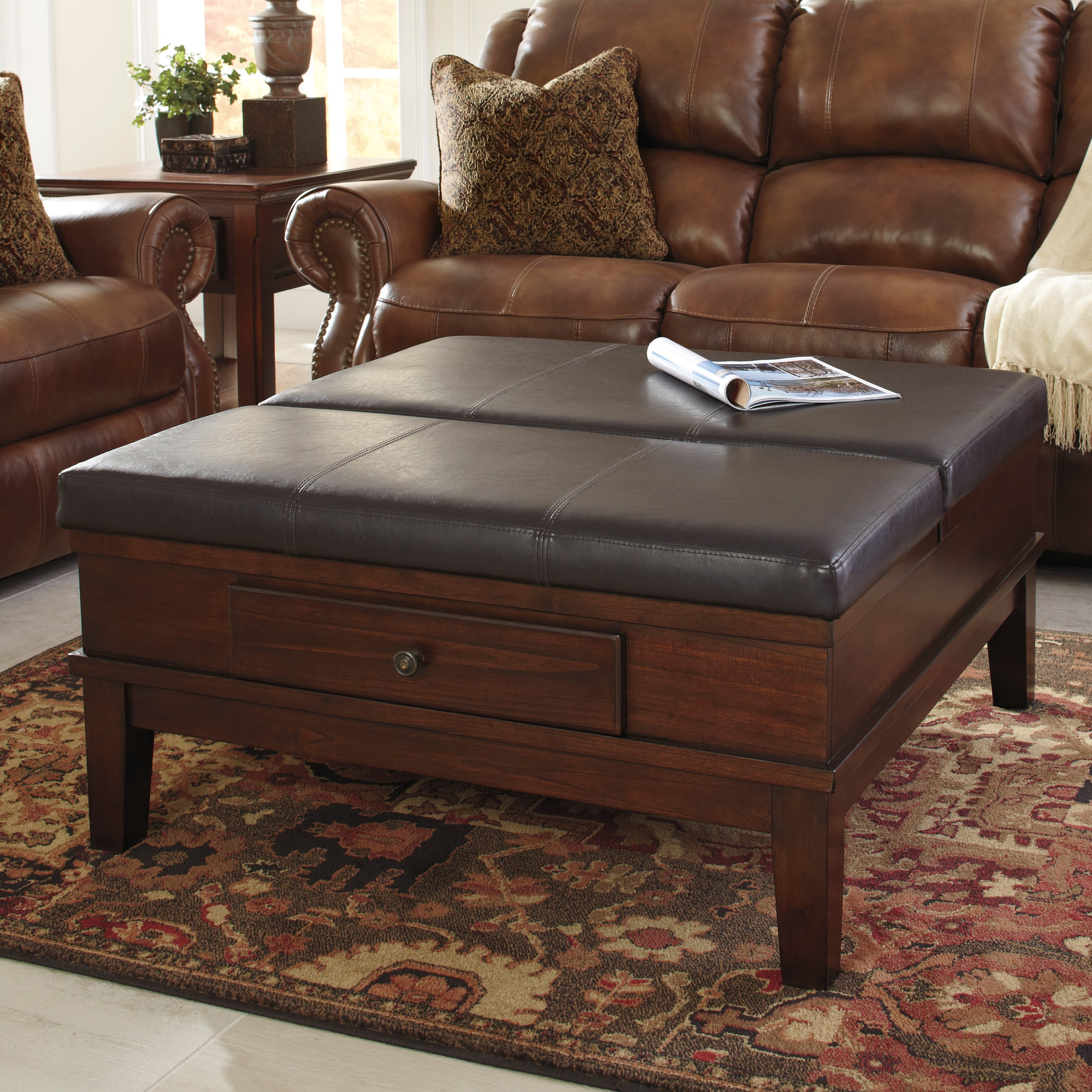 ashley ottoman room furniture cocktail shawnalore table living