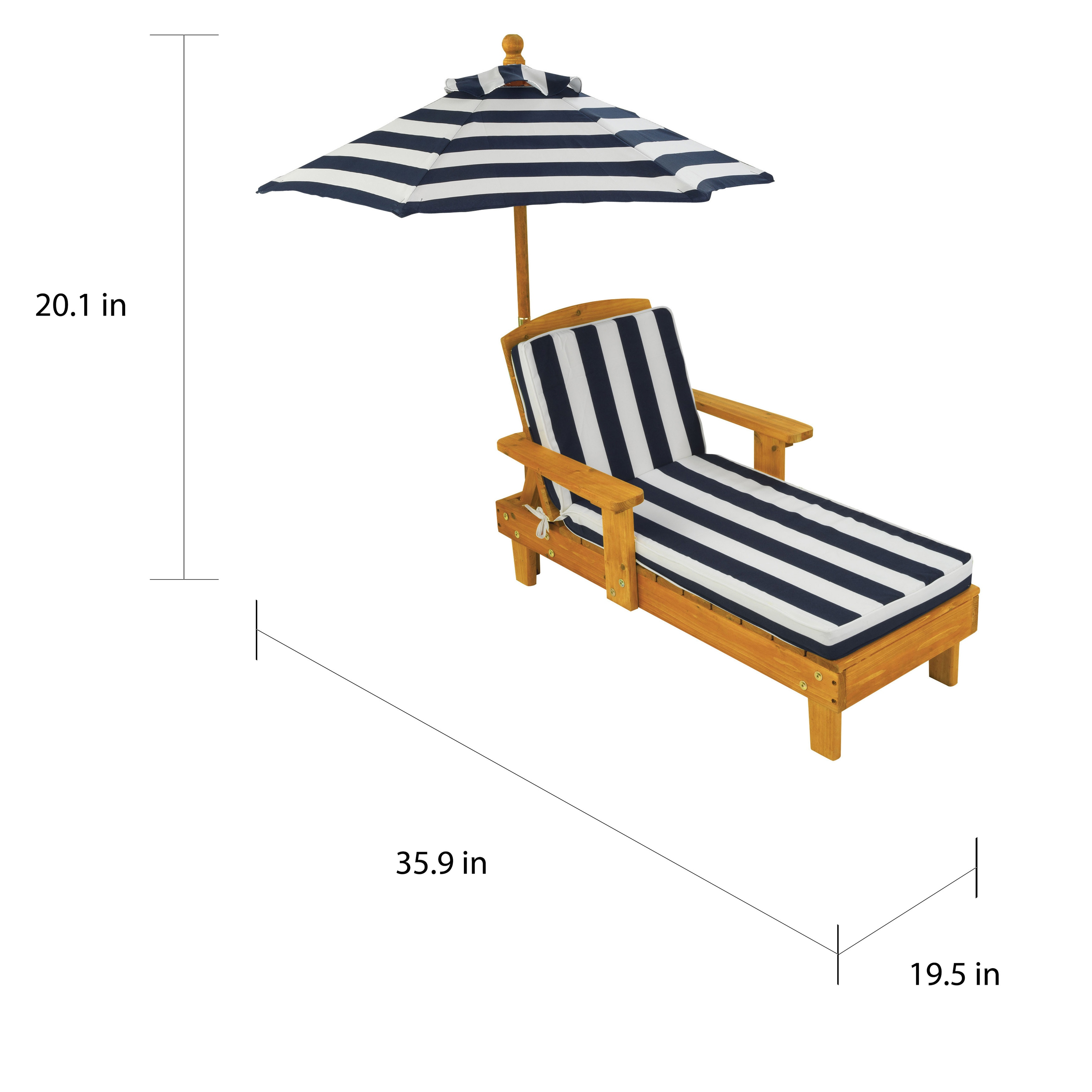 Shop Kidkraft Kid S Blue White Striped Outdoor Chaise With Umbrella