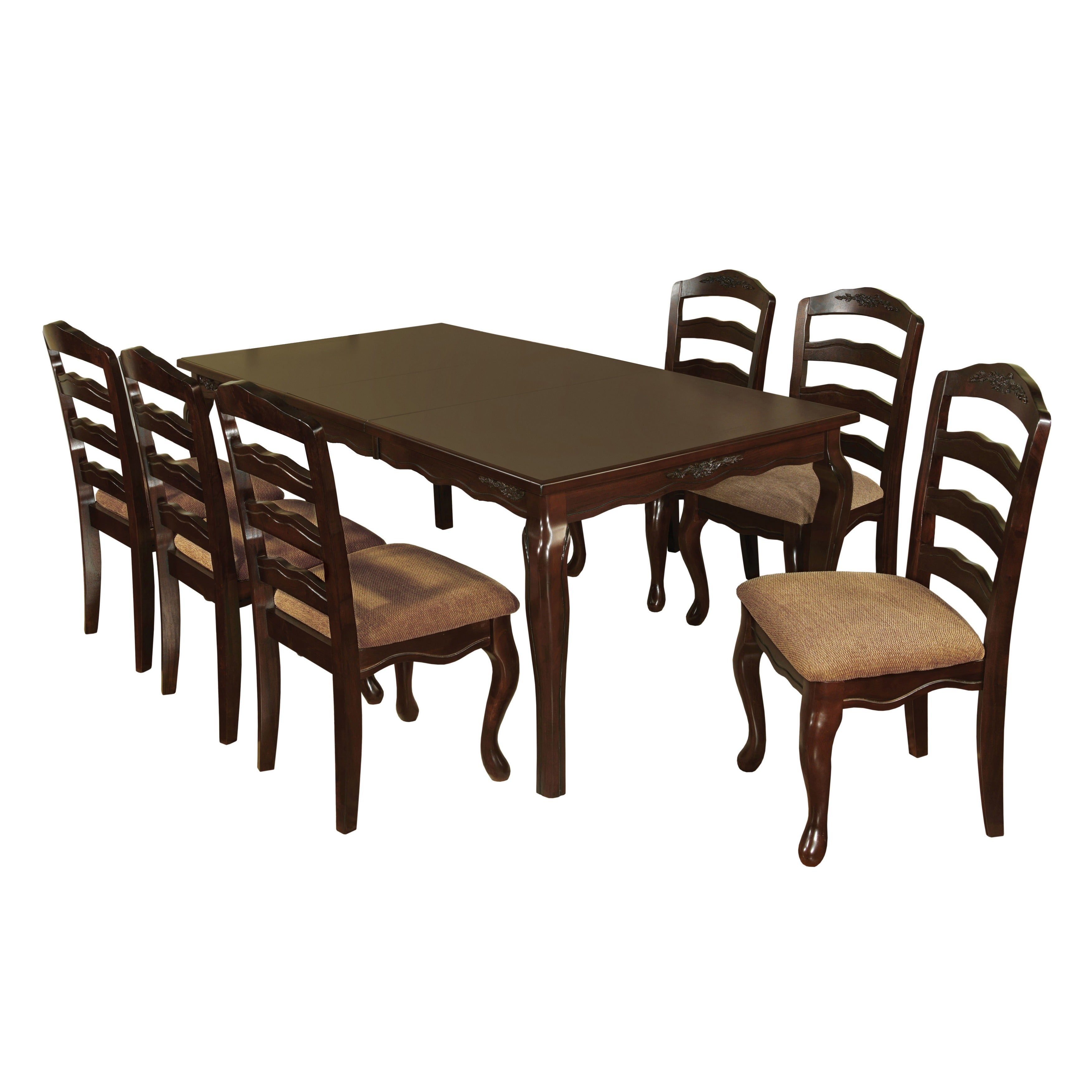 Shop Furniture Of America Le Deveaux Piece Dark Walnut Dining Set - Dark walnut dining table and chairs