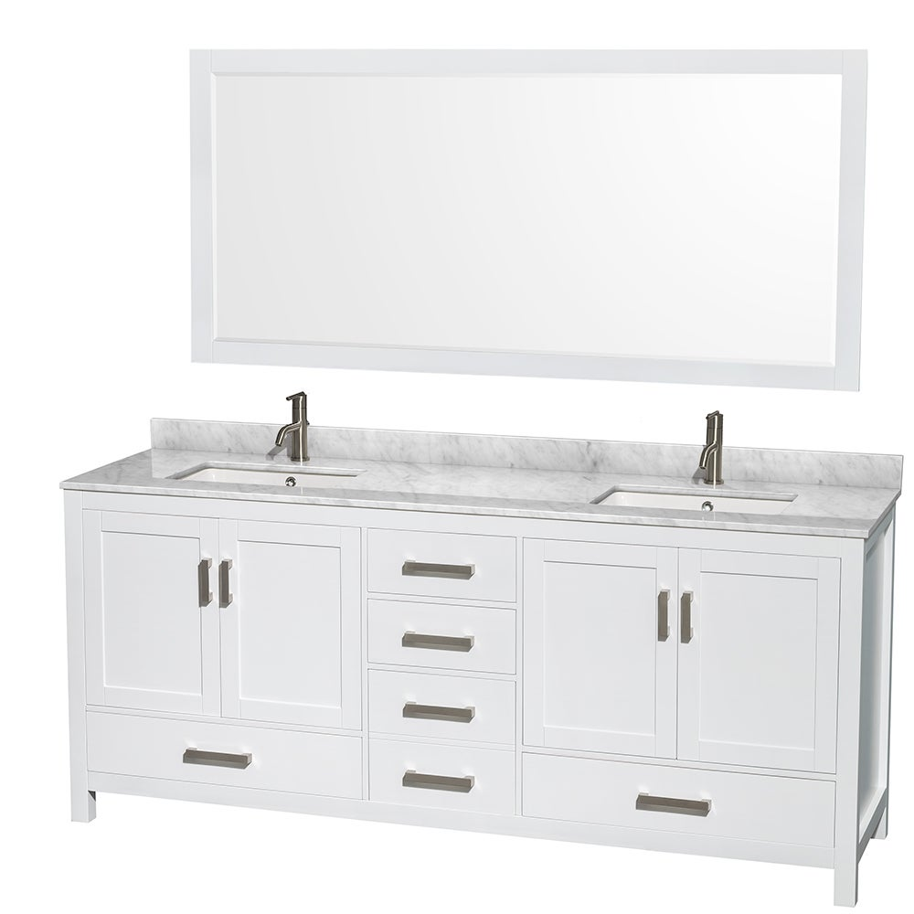 Shop Sheffield White 80-inch Double Bathroom Vanity with Optional ...