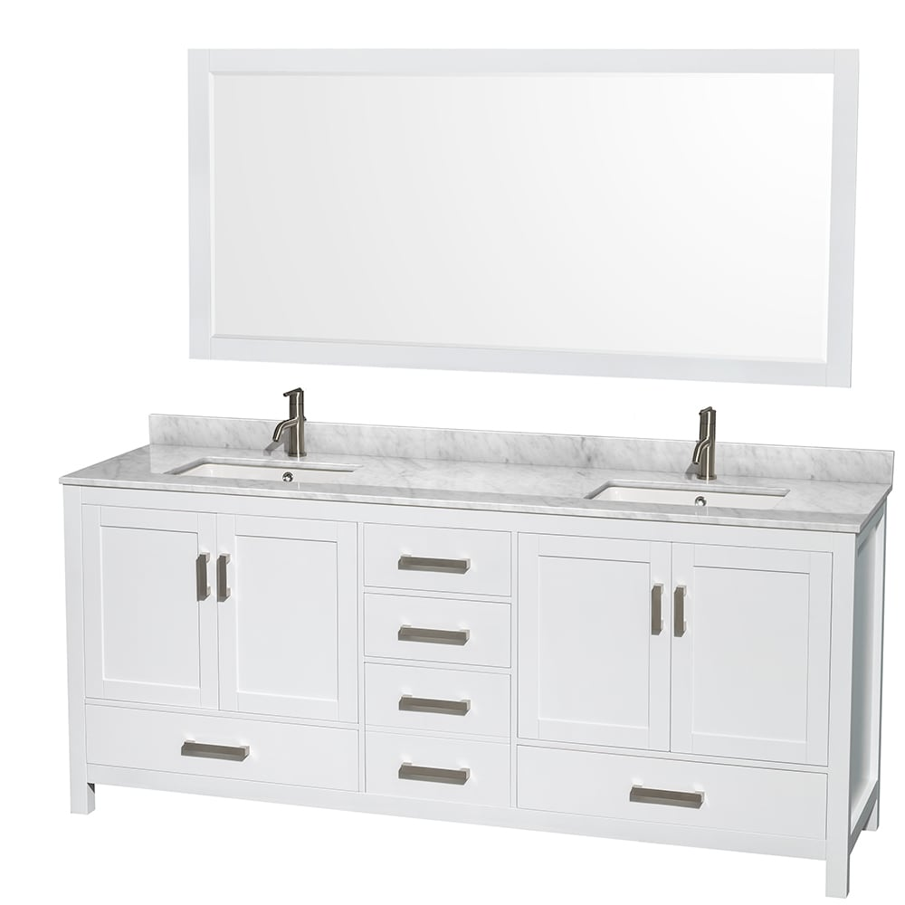 Genial Shop Sheffield White 80 Inch Double Bathroom Vanity With Optional Mirrors    Free Shipping Today   Overstock.com   9158926