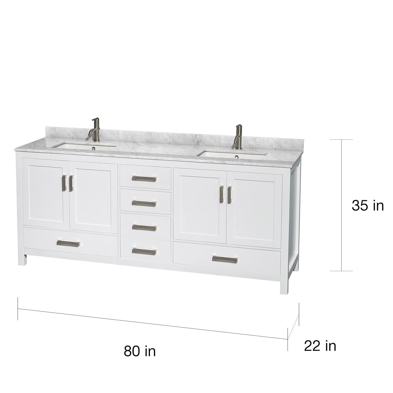 Shop Sheffield White 80 Inch Double Bathroom Vanity With Optional Mirrors    Free Shipping Today   Overstock.com   9158926