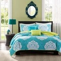 Intelligent Design Liliana Blue Damask 3-piece Coverlet Set