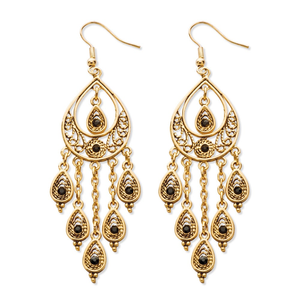 Black Crystal Teardrop And Chain Chandelier Earrings In Yellow Gold Tone Bold Fashion On Free Orders Over 45 Com