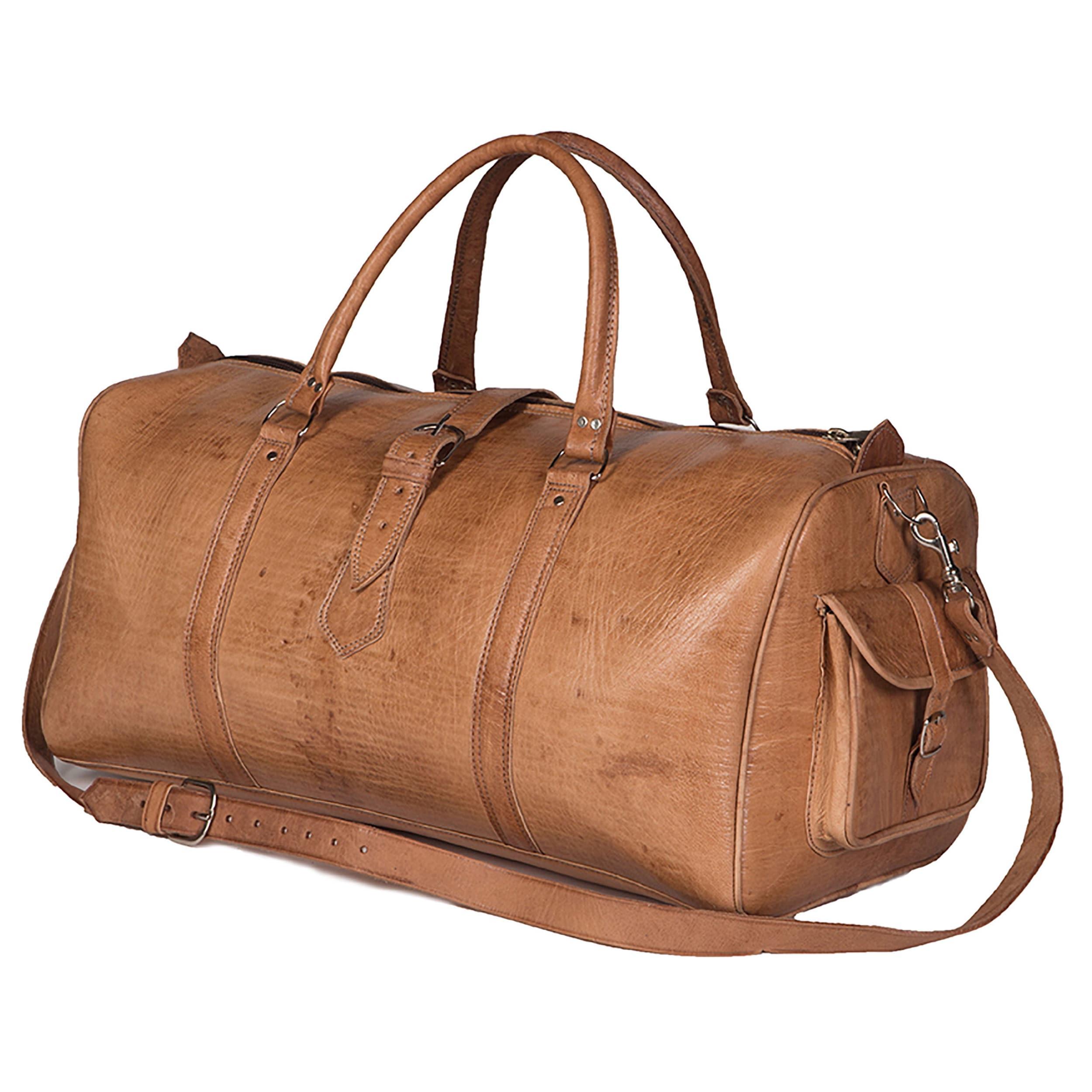 b0f1b1a52a Shop Handmade Large Tan Moroccan Leather Duffel Bag (Morocco) - On ...
