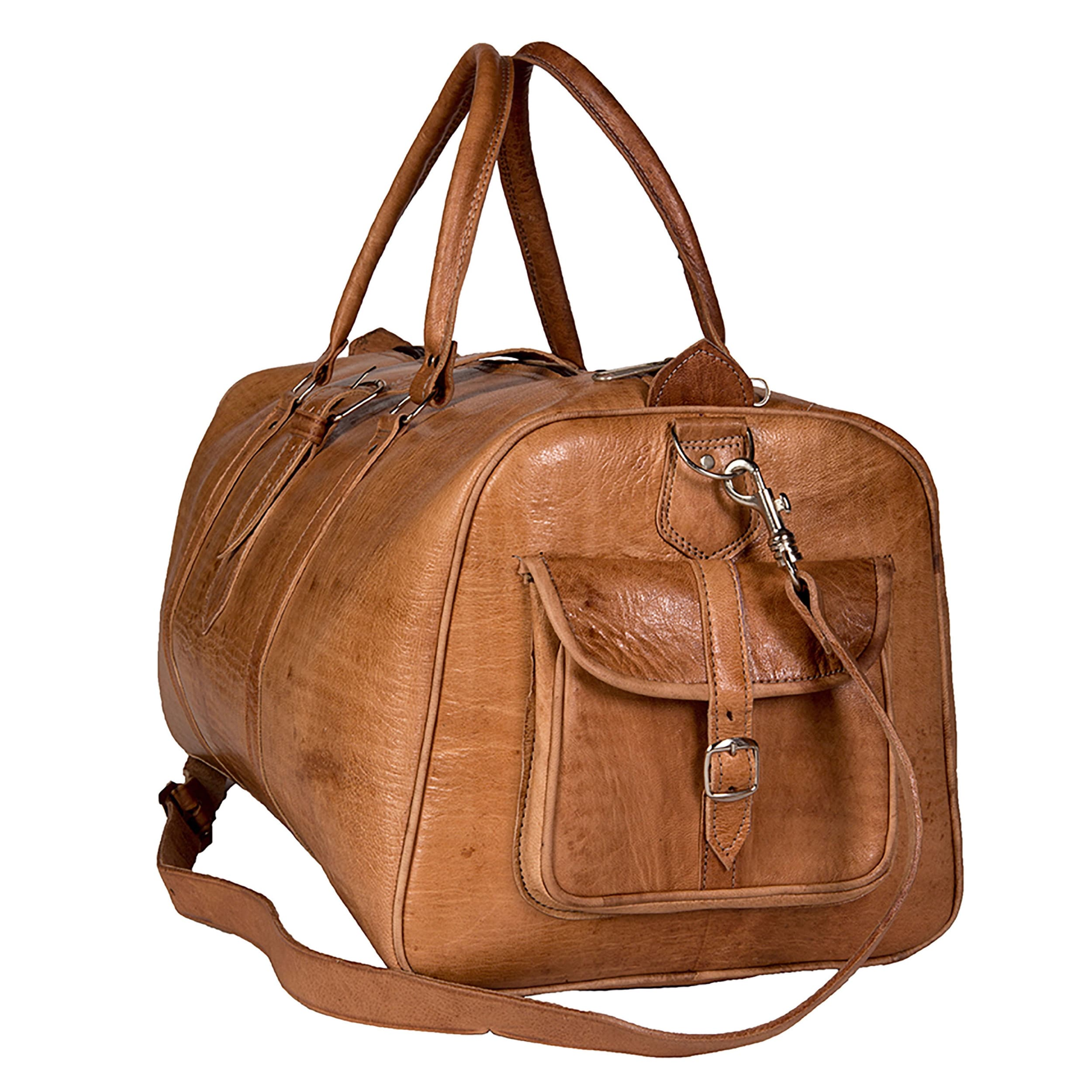 07cd915f5e Shop Handmade Large Tan Moroccan Leather Duffel Bag (Morocco) - On Sale -  Free Shipping Today - Overstock - 9164674