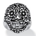 PalmBeach Flowery Skull Ring Platinum-Plated Tailored