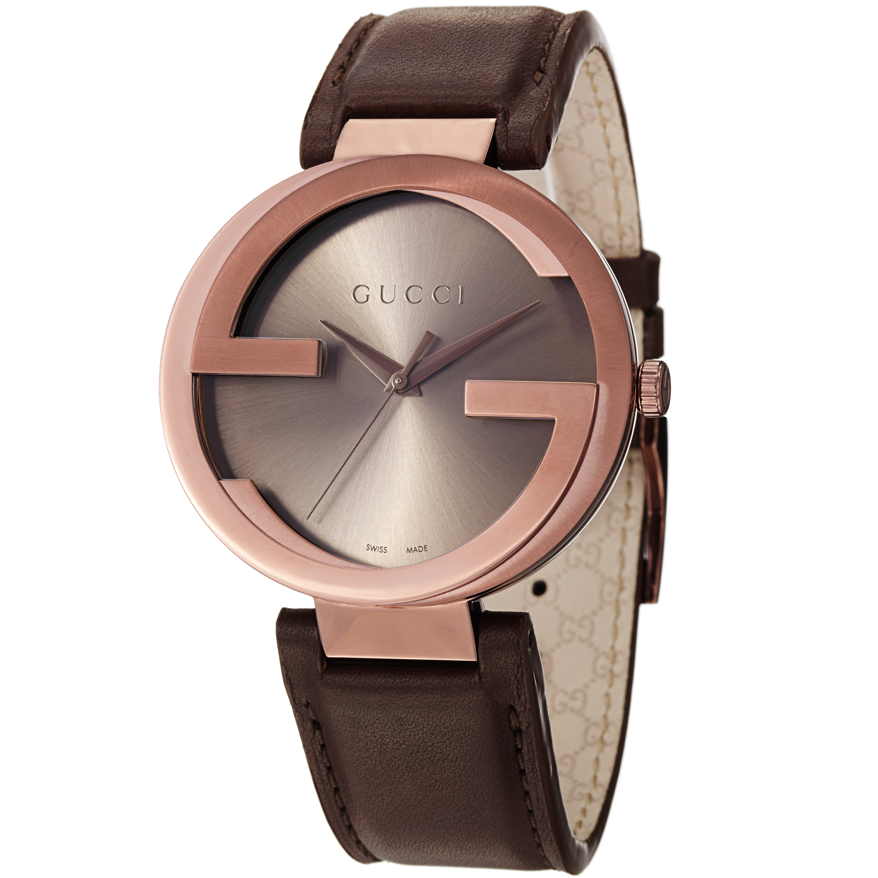 629d1e155d8 Shop Gucci Men s YA133207  Interlocking  Brown Dial Brown Leather Strap  Quartz Watch - Free Shipping Today - Overstock - 9165485