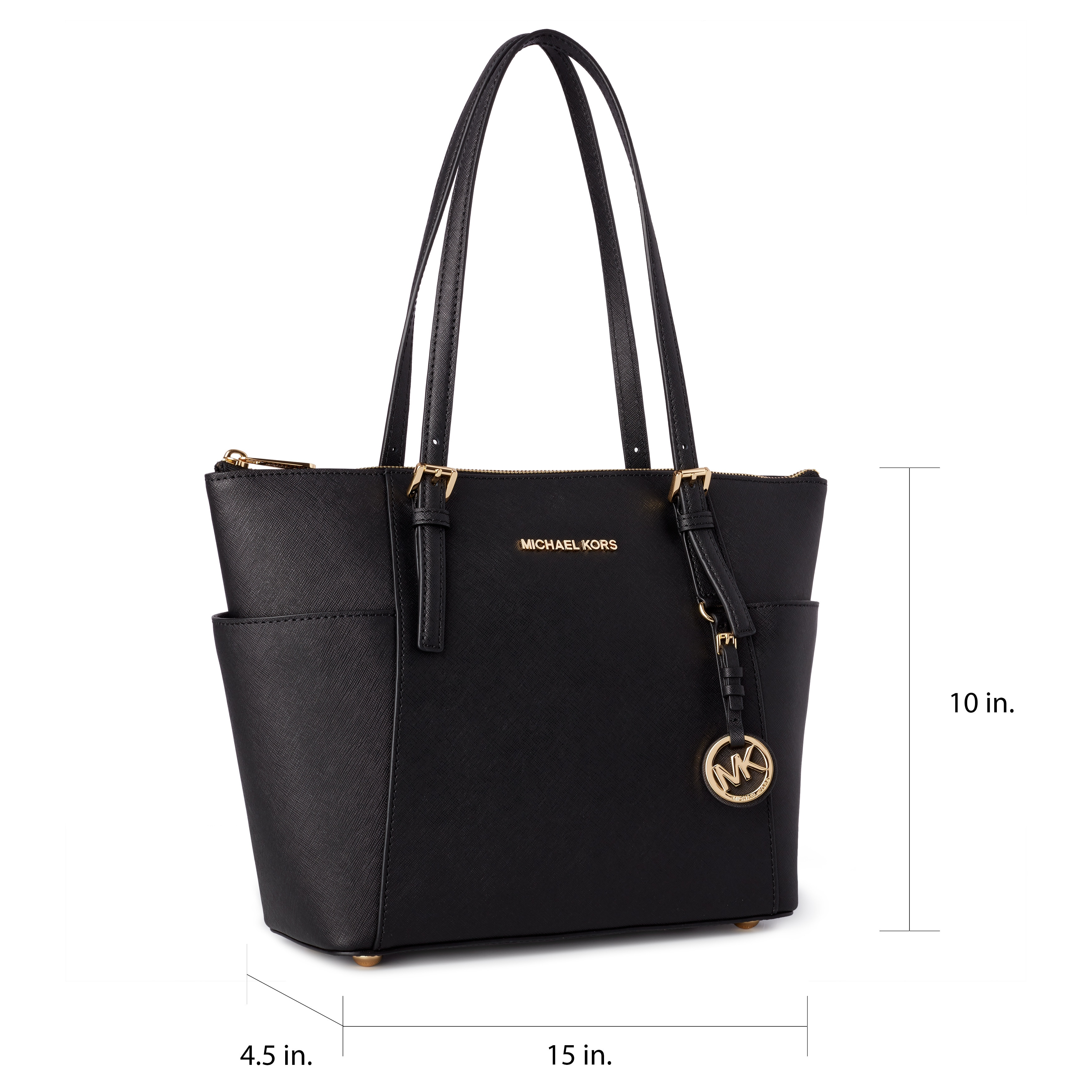 98382cad9e1f Shop Michael Kors Jet Set Medium Pocketed Top Zip Tote Bag - Free Shipping  Today - Overstock - 9167184