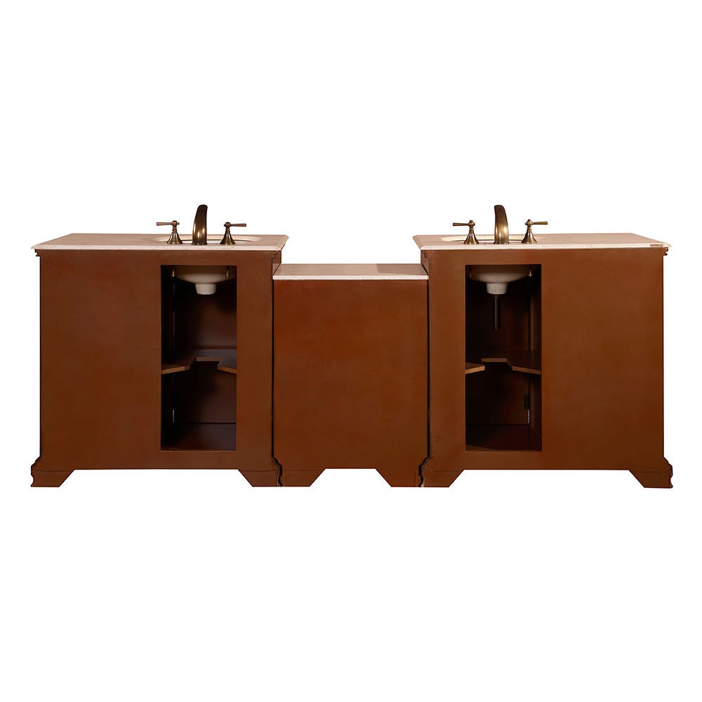 Silkroad Exclusive 92 Inch Creamy Marble Counter Top Bathroom Double Sink Vanity Free Shipping Today 9168093