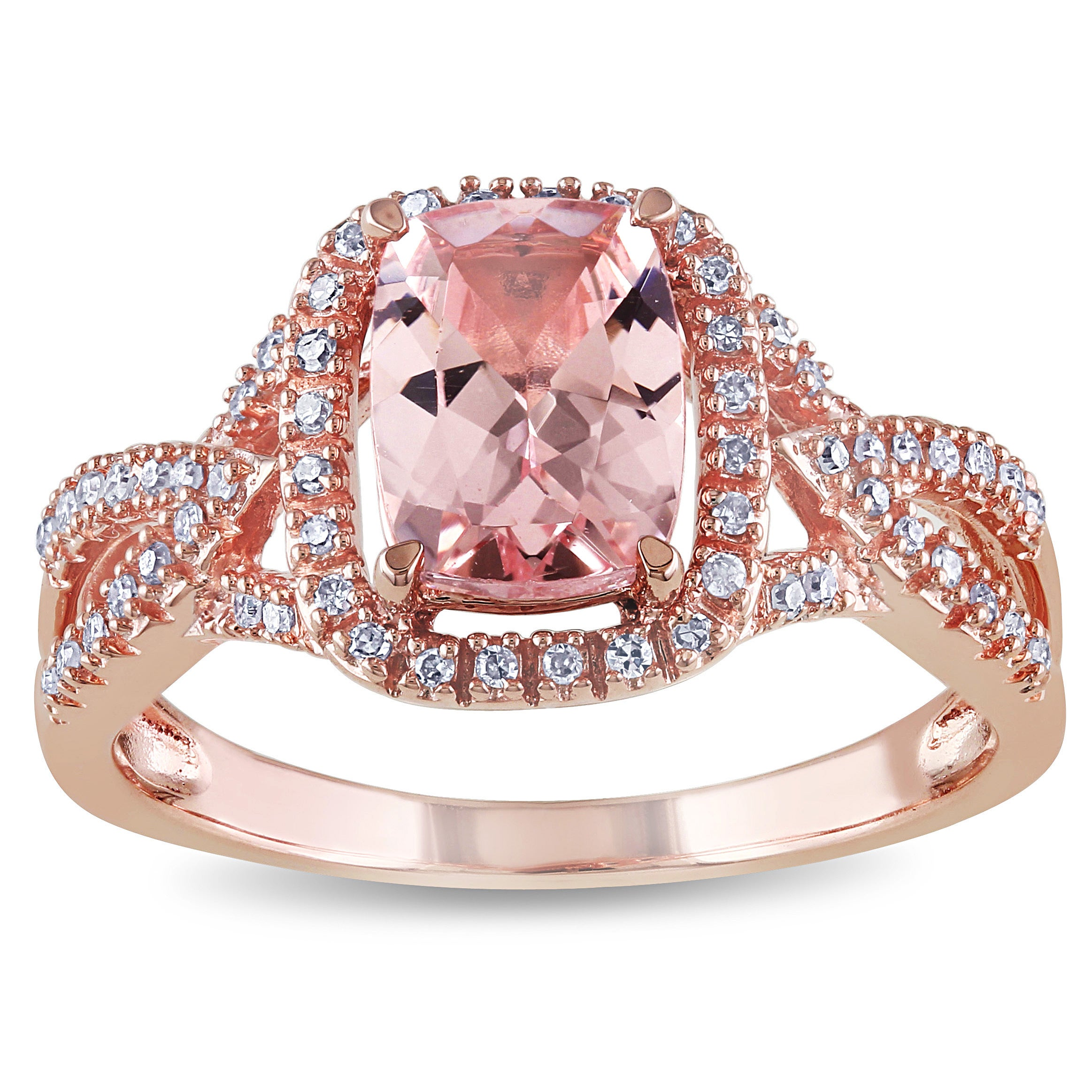 Shop Miadora Signature Collection 10k Rose Gold Cushion-Cut ...