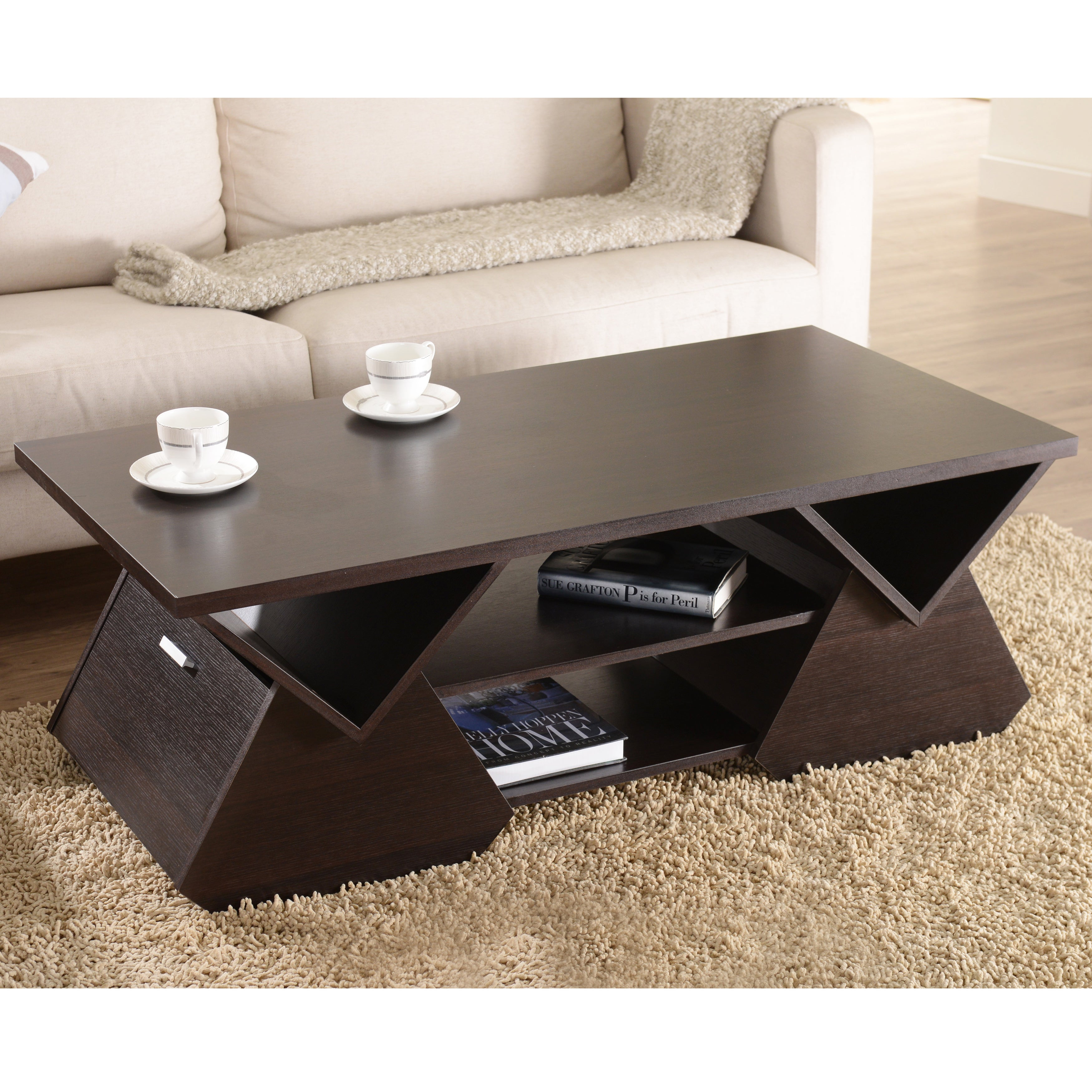 Shop furniture of america melika espresso geometric coffee table on sale free shipping today overstock com 9172913