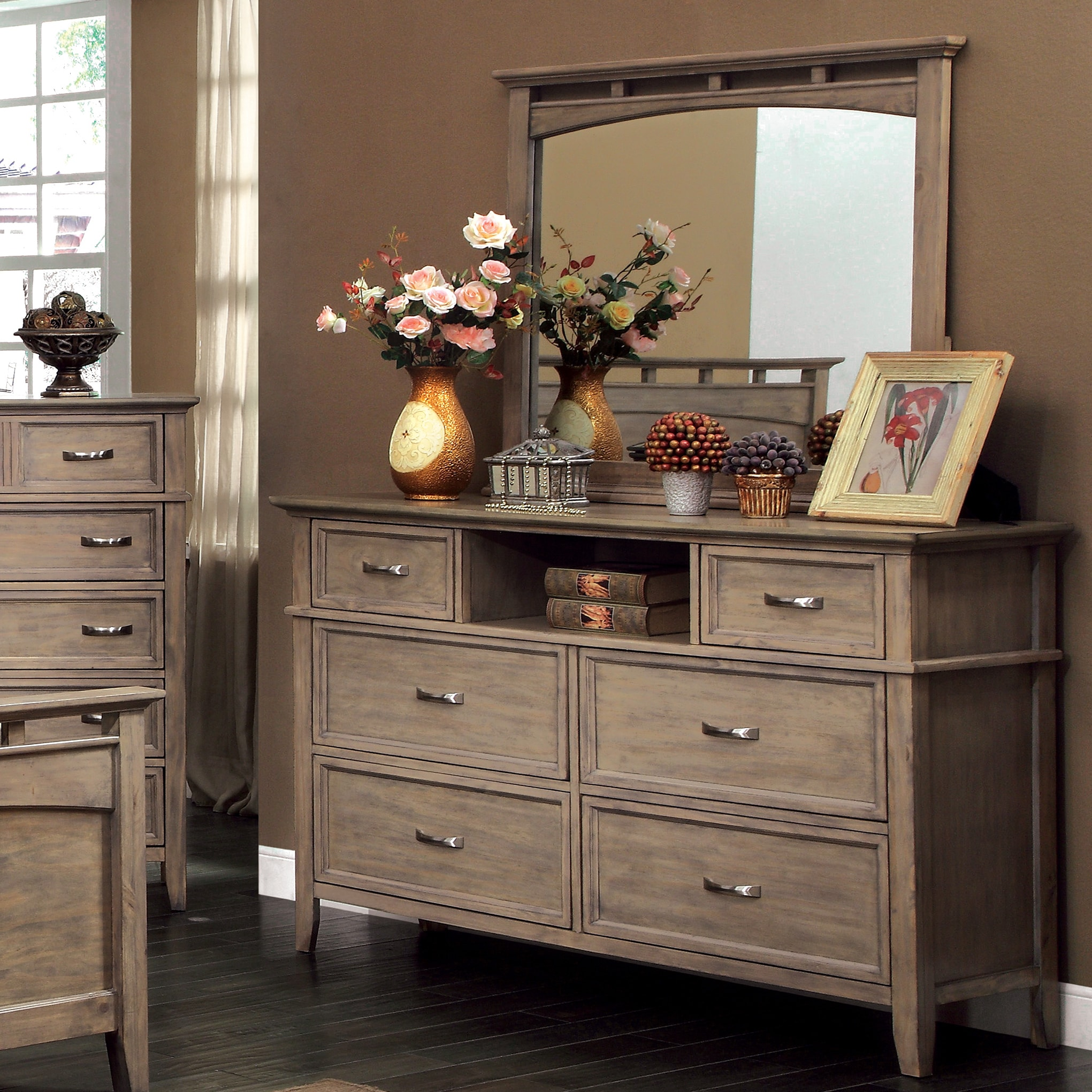 Perfect Furniture Of America Shoreline 4 Piece Weathered Oak Bed Set   Free  Shipping Today   Overstock.com   16349907
