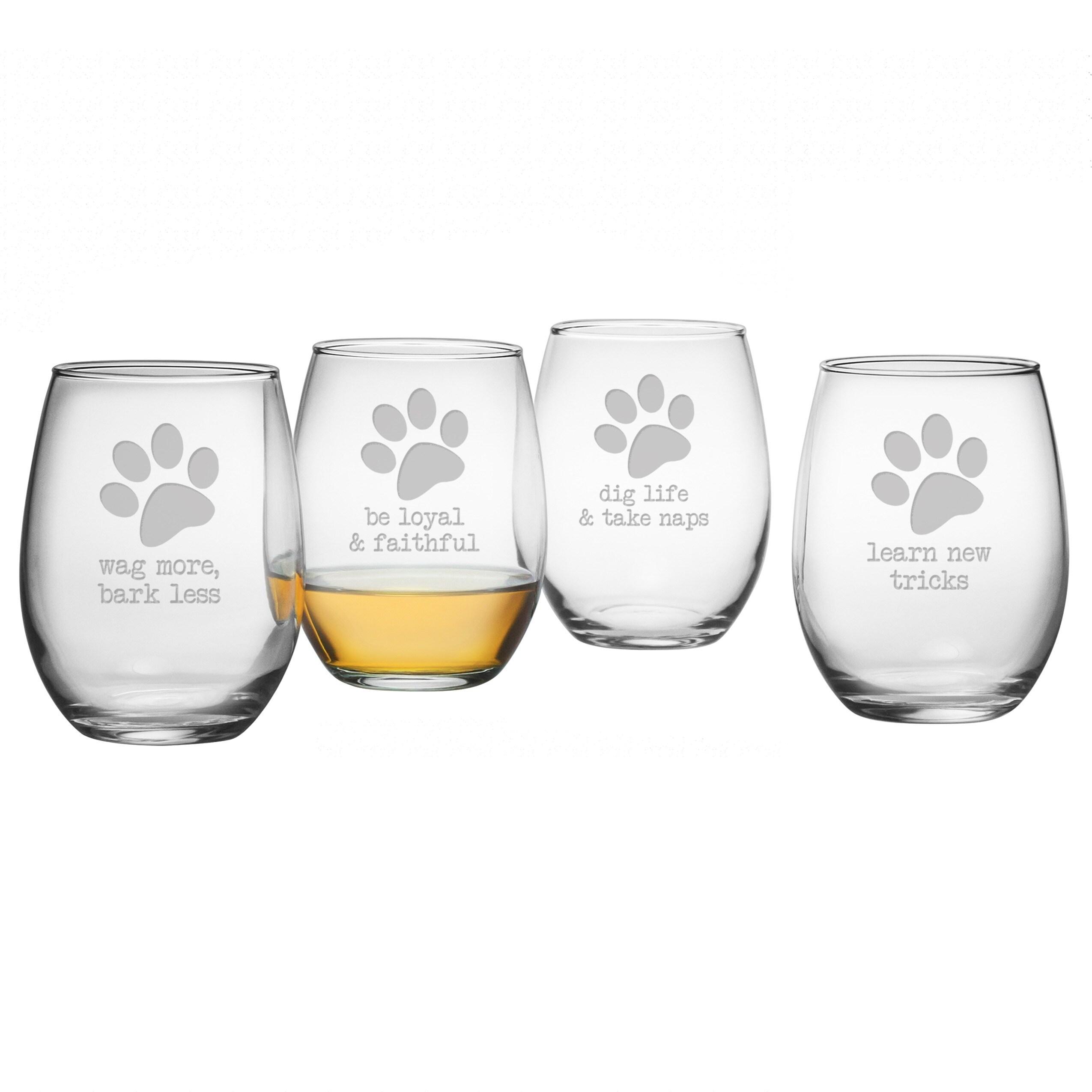 Popular Dog Wisdom Stemless Wine Glasses (Set of 4) - Free Shipping On  ZE62
