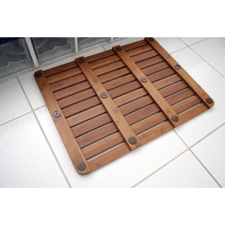 Natural Bamboo 20 x 26 Wood Nonskid Bath Mat Free Shipping Today