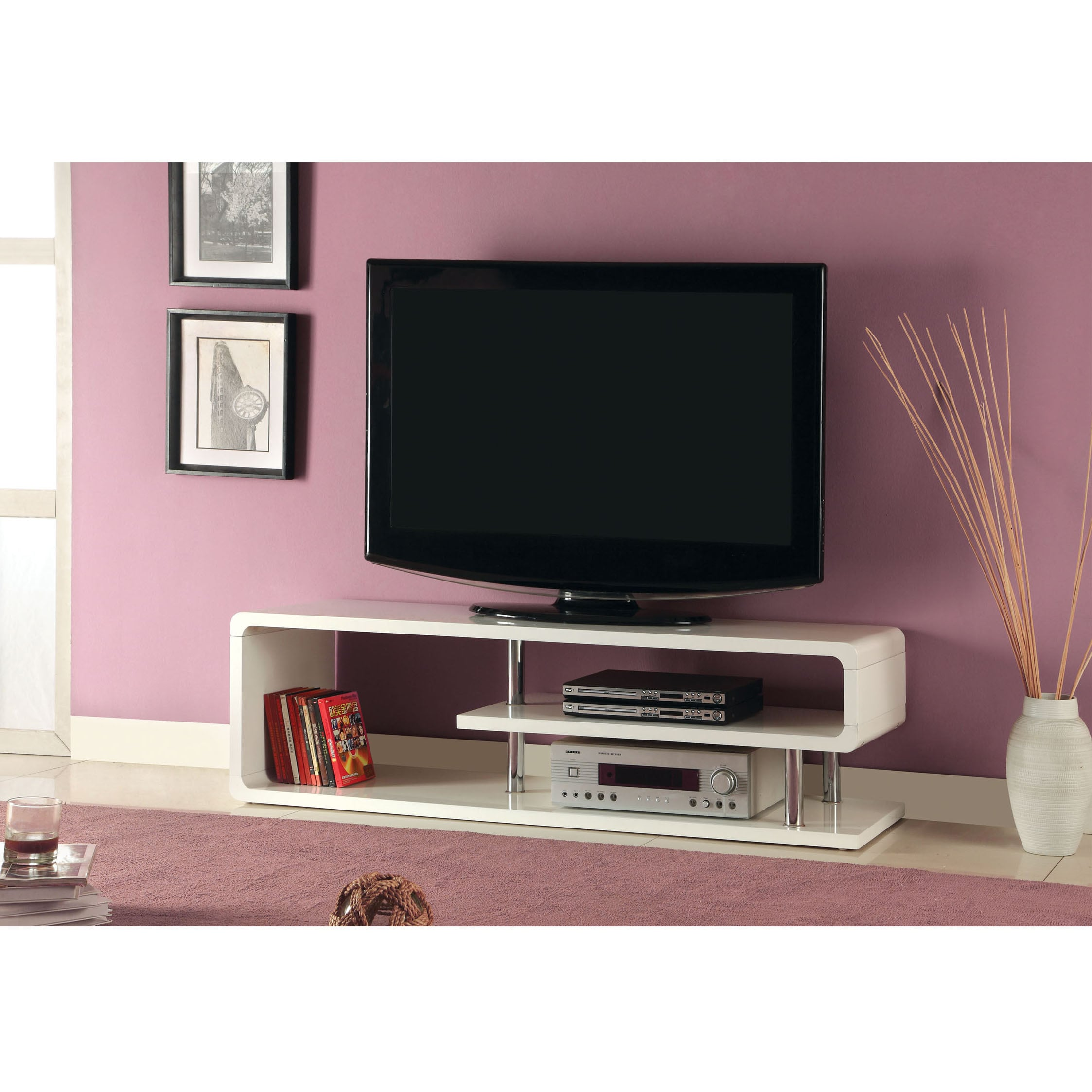 Furniture of America Diantha Glossy Off White TV