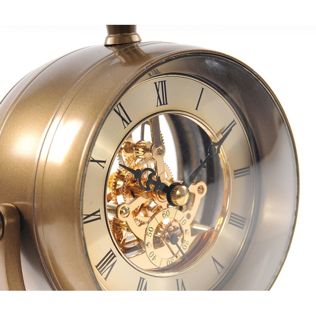 19th Century Inspired Brass Table Clock   Free Shipping Today   Overstock    16352285