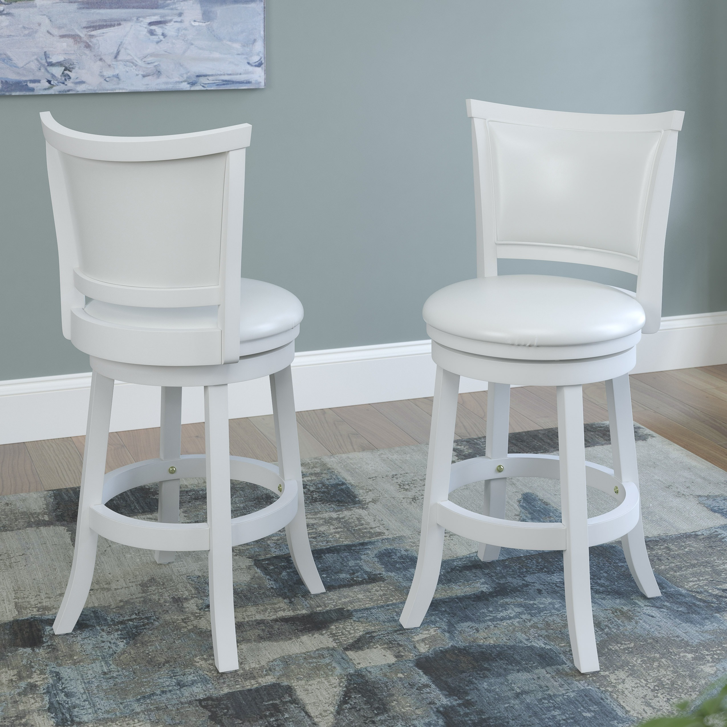 CorLiving White Wash Counter Barstool with Leatherette Seat (Set of ...