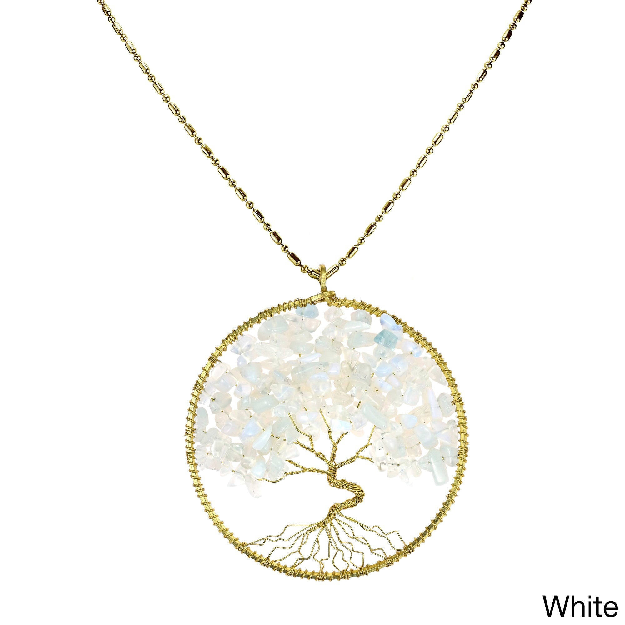 Handmade Natural Stone Eternal Tree of Life Brass Long Necklace (Thailand)  - Free Shipping On Orders Over $45 - Overstock.com - 16354564