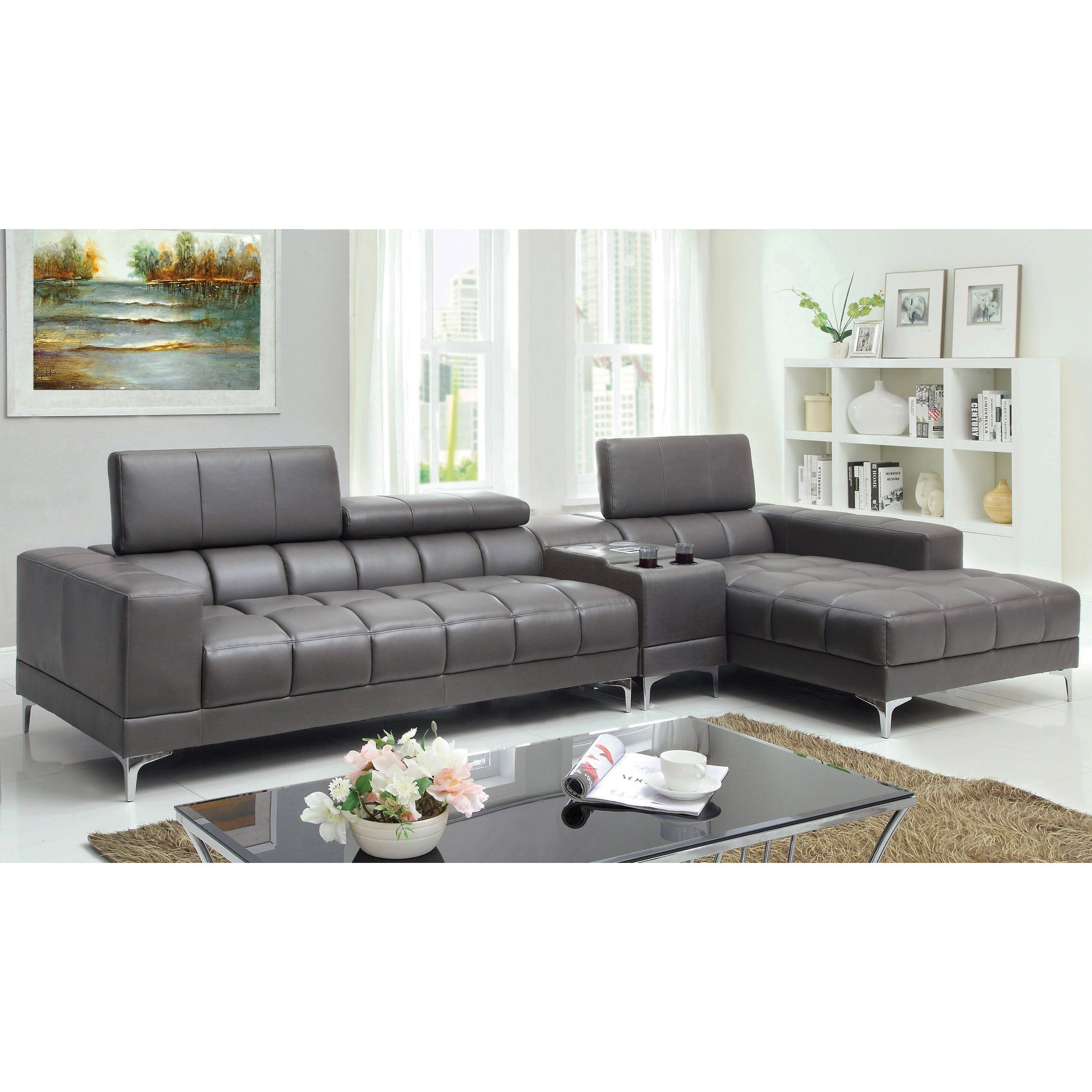 Furniture of america bourlette grey leather 2 piece sectional