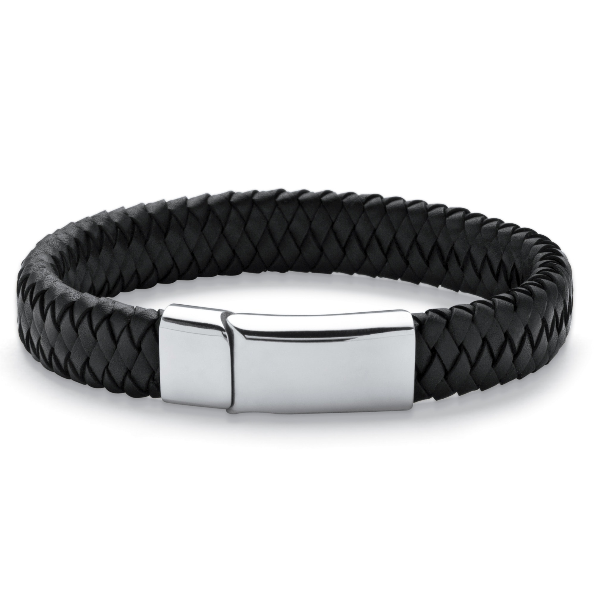 Men S Black Leather And Stainless Steel Bracelet