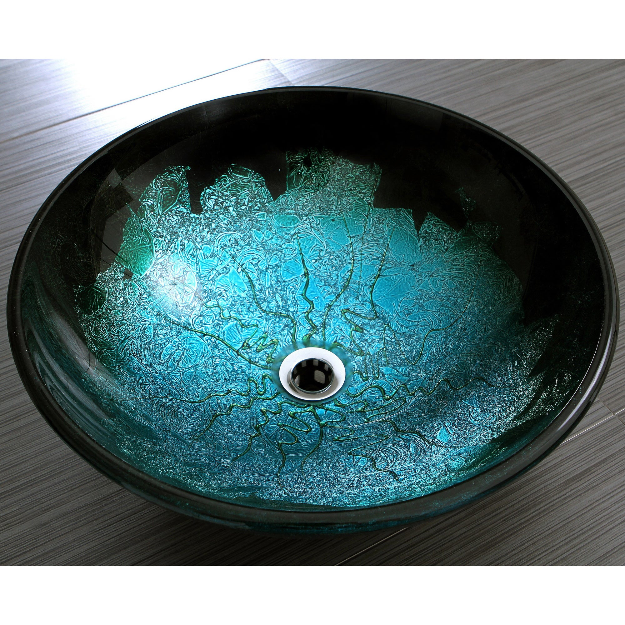 Shop Turquoise and Black Glass Vessel Bathroom Sink - Free Shipping ...