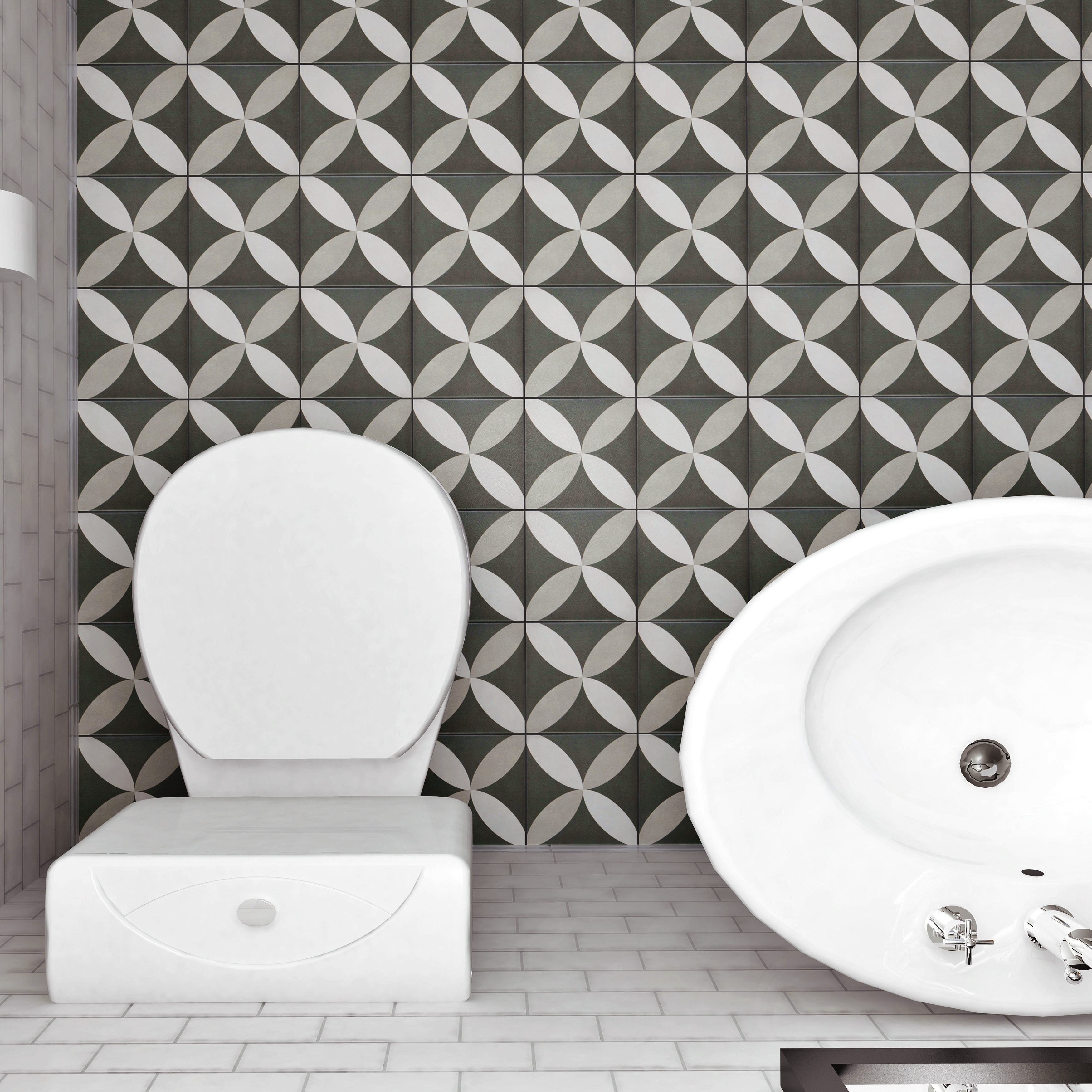 Shop Somertile 775x775 Inch Thirties Petal Ceramic Floor And Wall