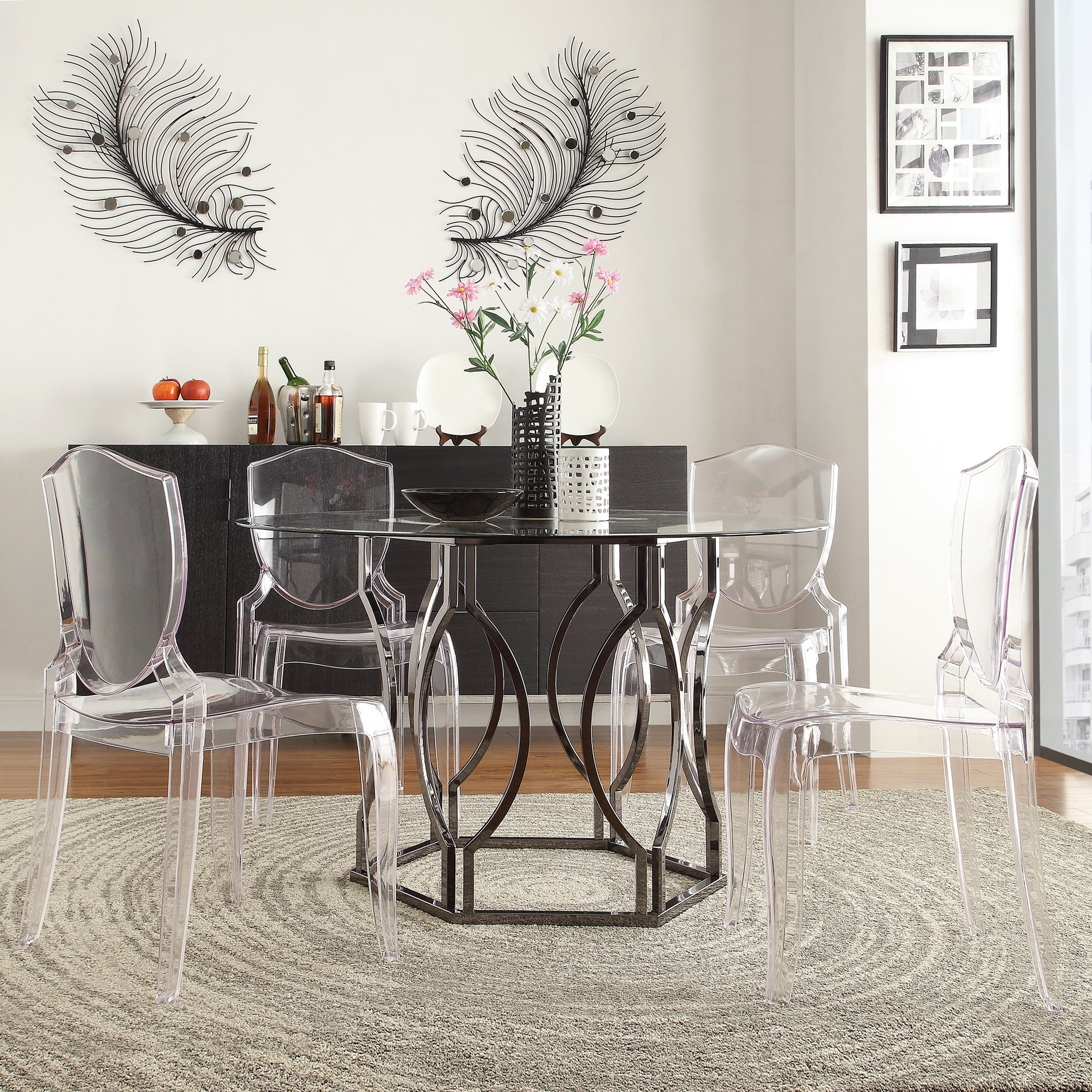 Concord Black Nickel Plated Round Glass Dining Table by iNSPIRE Q Bold -  Free Shipping Today - Overstock.com - 16357759