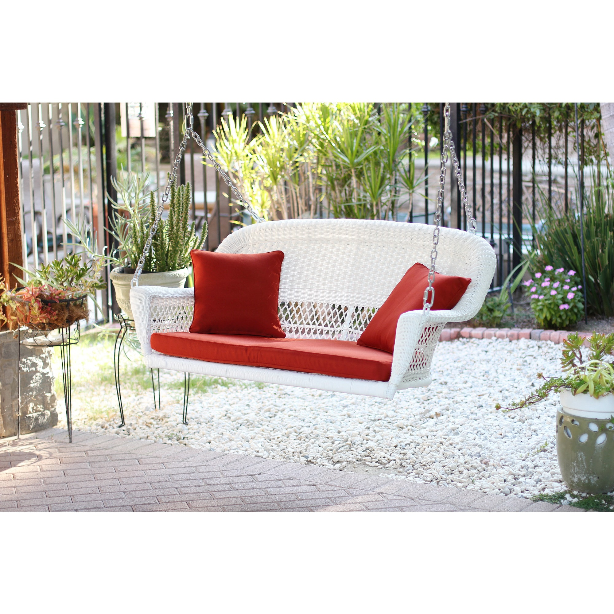 Shop White Resin Wicker Porch Swing With Cushions Free Shipping
